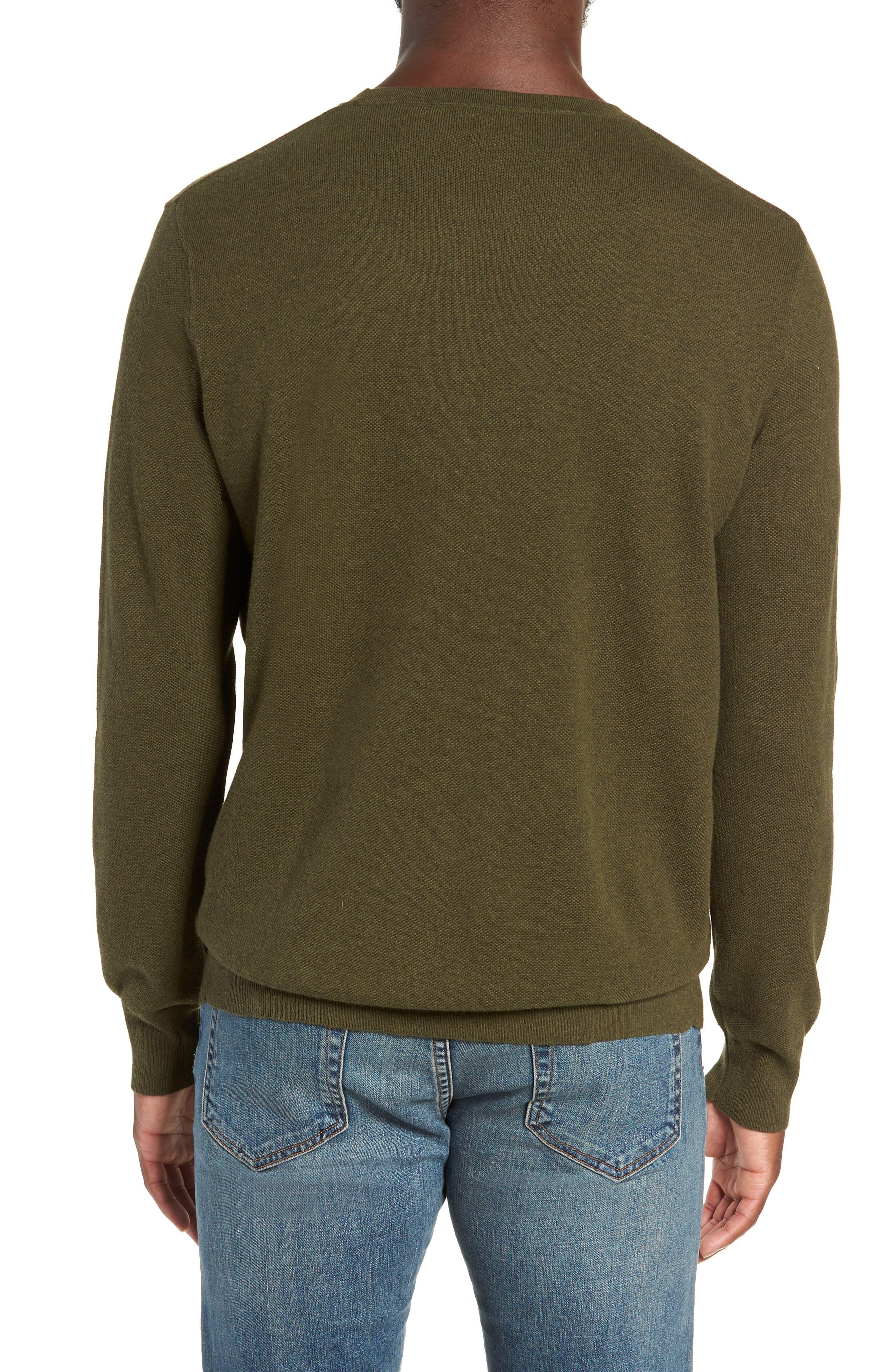 Cotton & Cashmere Piqué Crewneck Sweater,                             Alternate thumbnail 2, color,                             HEATHER OLIVE