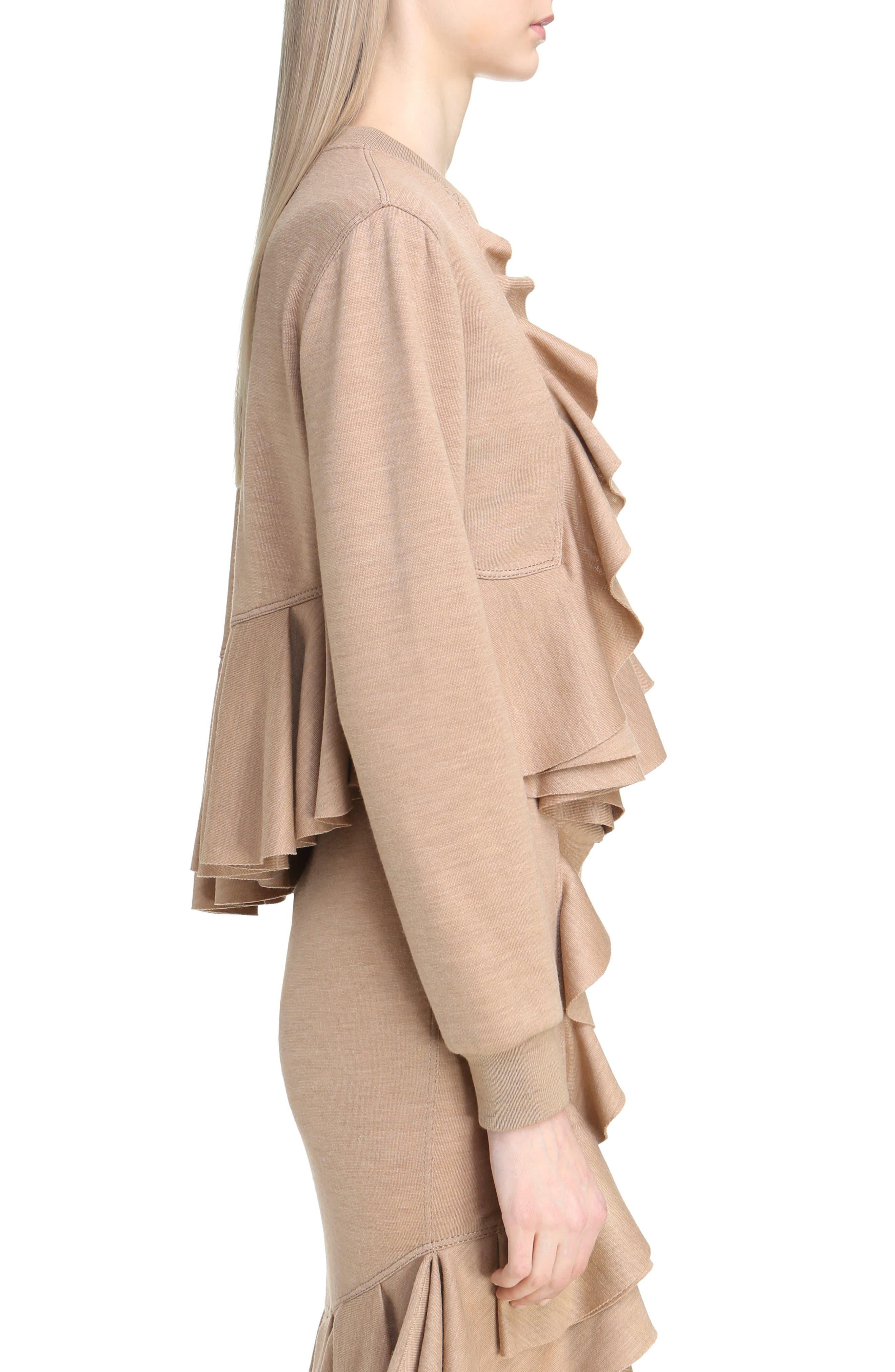 Ruffled Wool Sweatshirt,                             Alternate thumbnail 3, color,                             280
