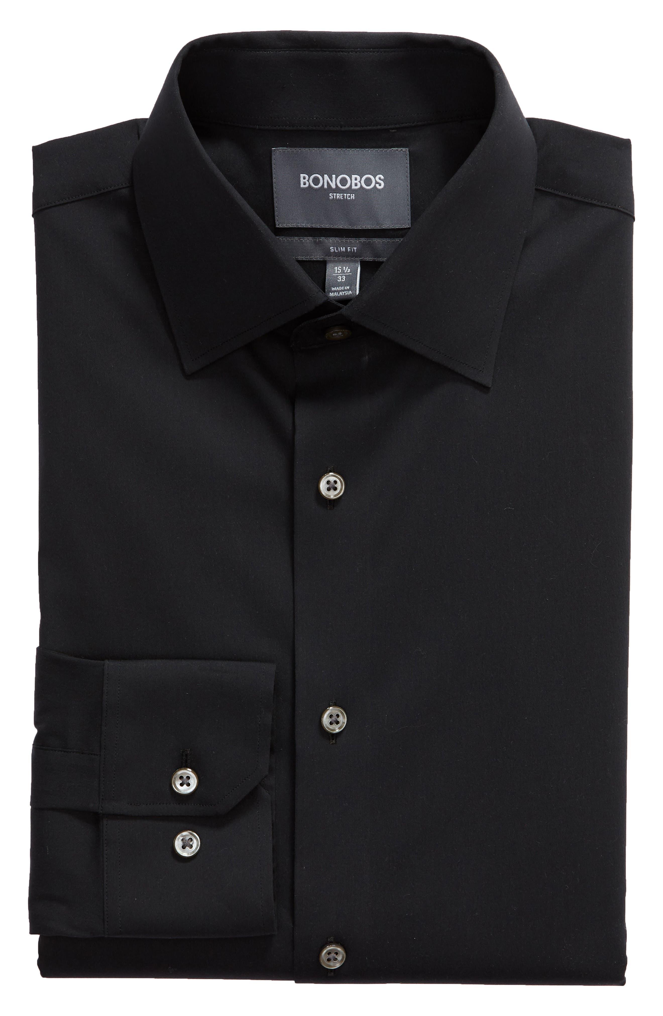Jetsetter Slim Fit Solid Dress Shirt,                             Alternate thumbnail 5, color,                             BLACK
