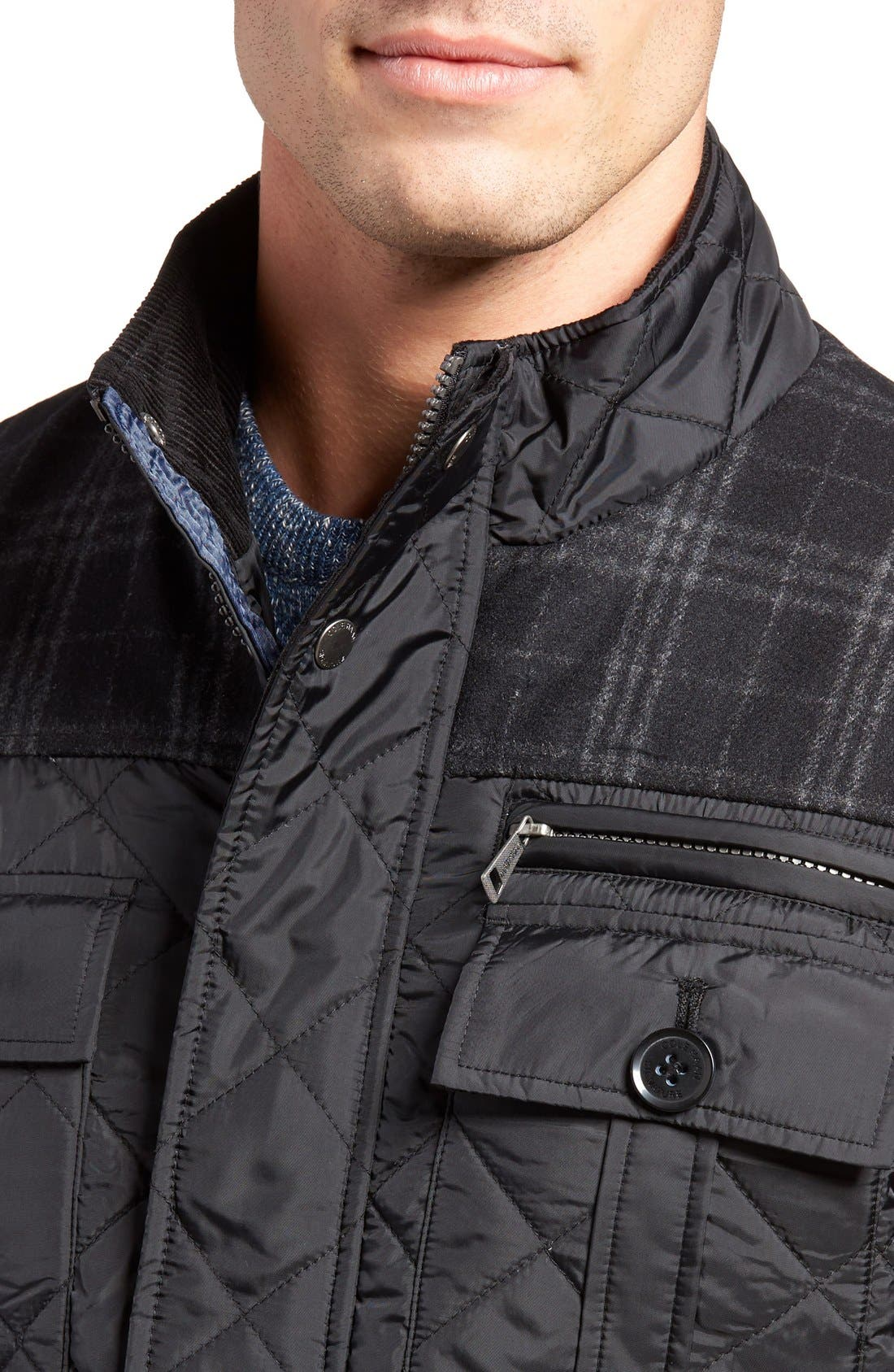 Mixed Media Quilted Jacket,                             Alternate thumbnail 4, color,                             001