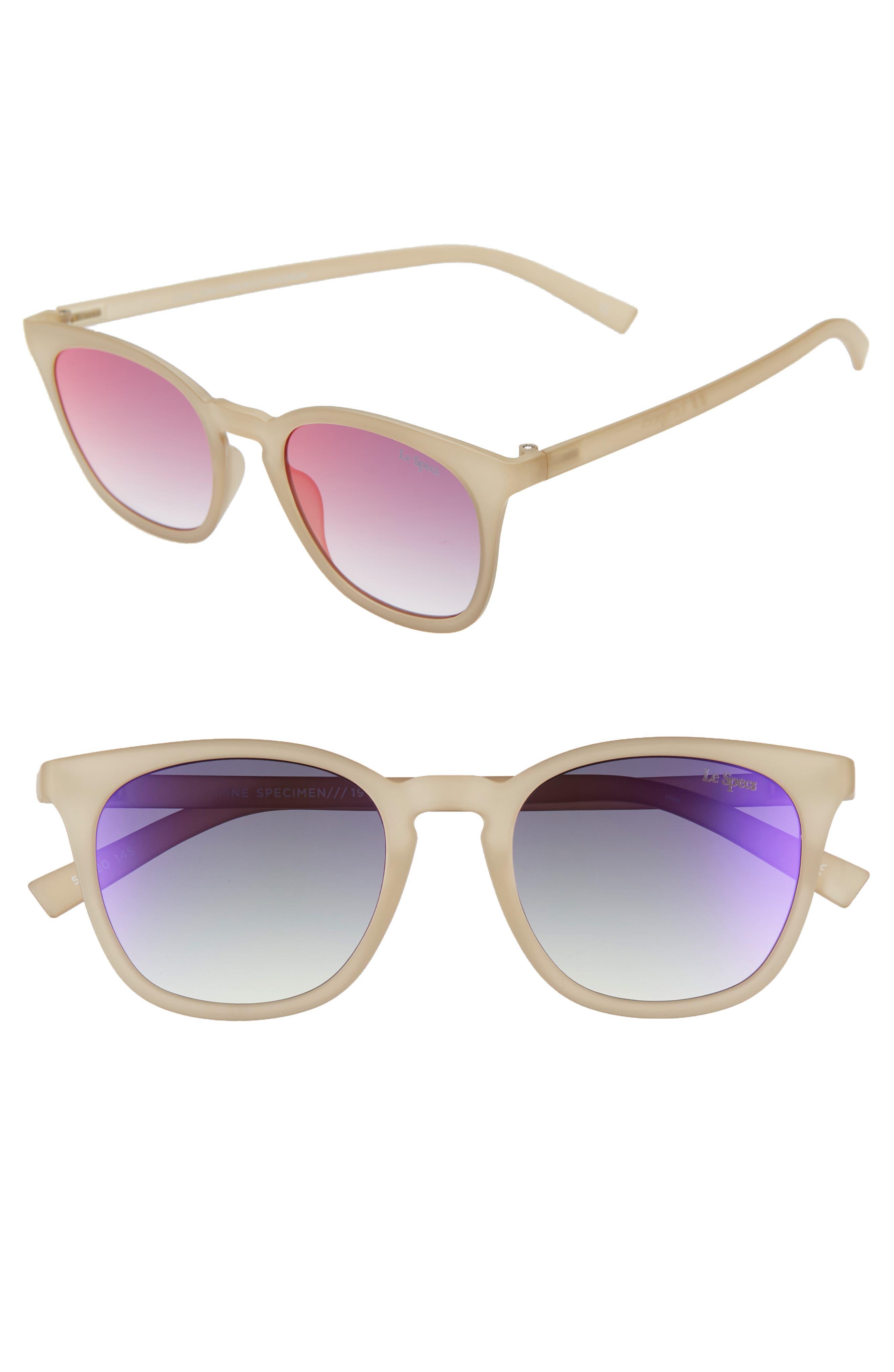 Le Specs Fine Specimen 51Mm Square Sunglasses - Matte Matcha/ Ice Fire Mirror