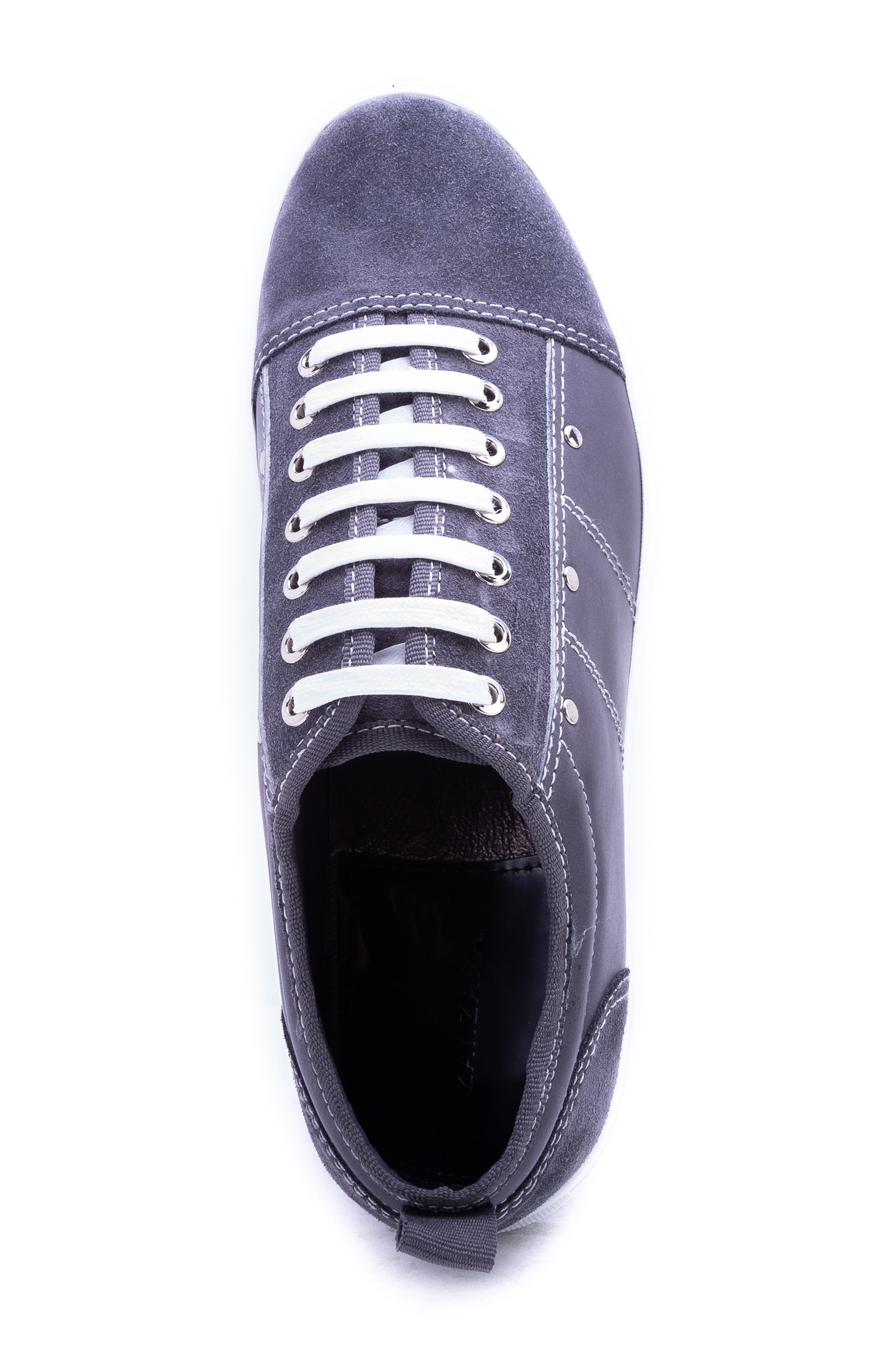 Severn Studded Low Top Sneaker,                             Alternate thumbnail 5, color,                             GREY SUEDE/ LEATHER