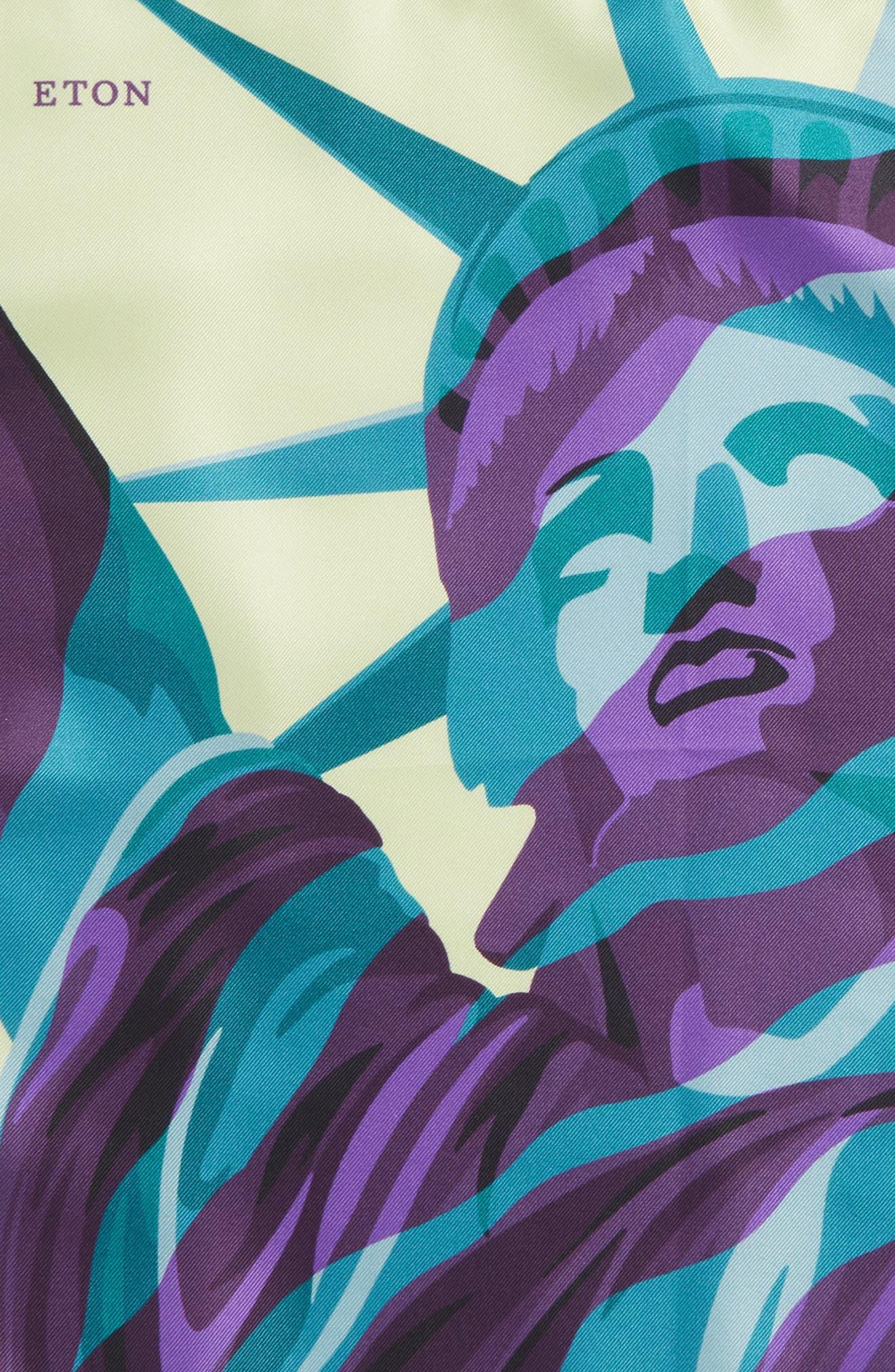 ETON,                             Statue of Liberty Silk Pocket Square,                             Alternate thumbnail 3, color,                             GREEN