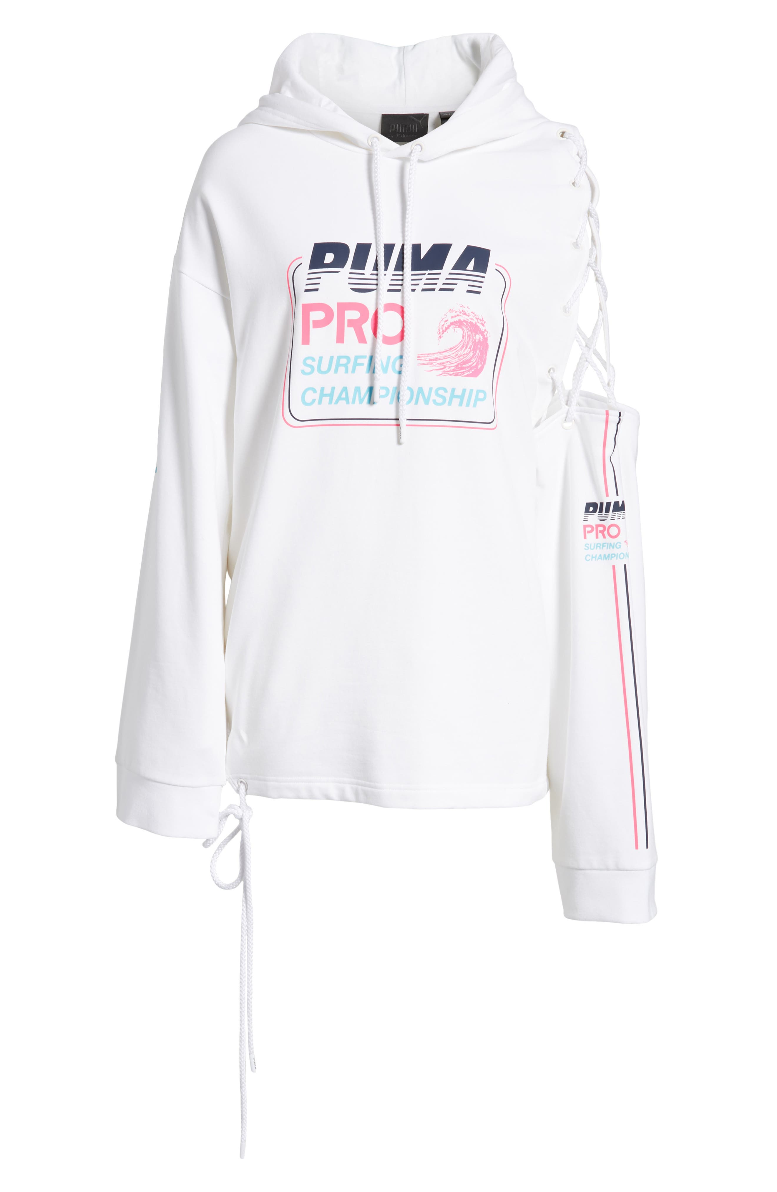 PUMA by Rihanna Lace-Up Side Hoodie,                             Alternate thumbnail 7, color,                             100