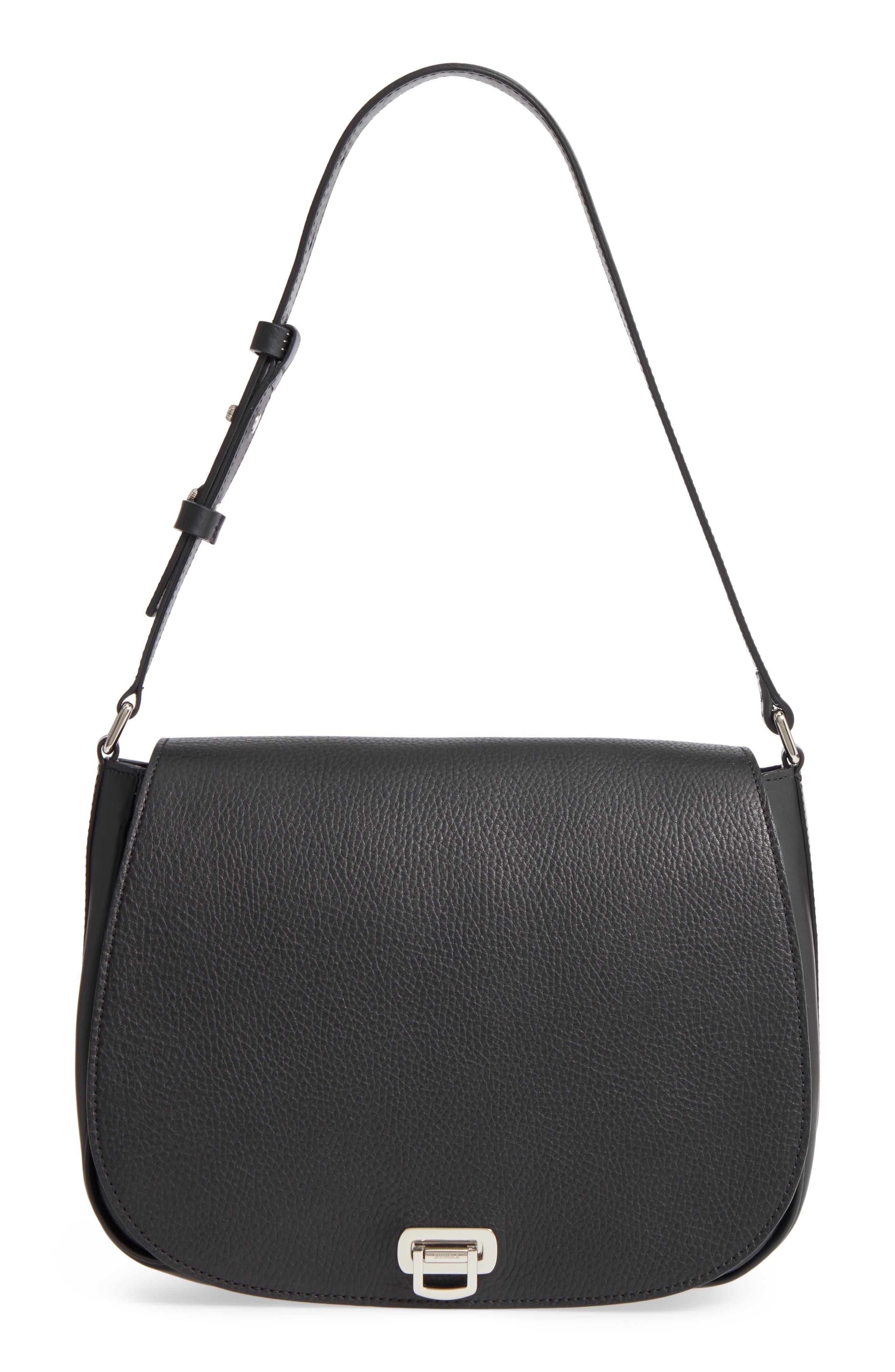 Calfskin Leather Shoulder Bag,                             Main thumbnail 1, color,                             001