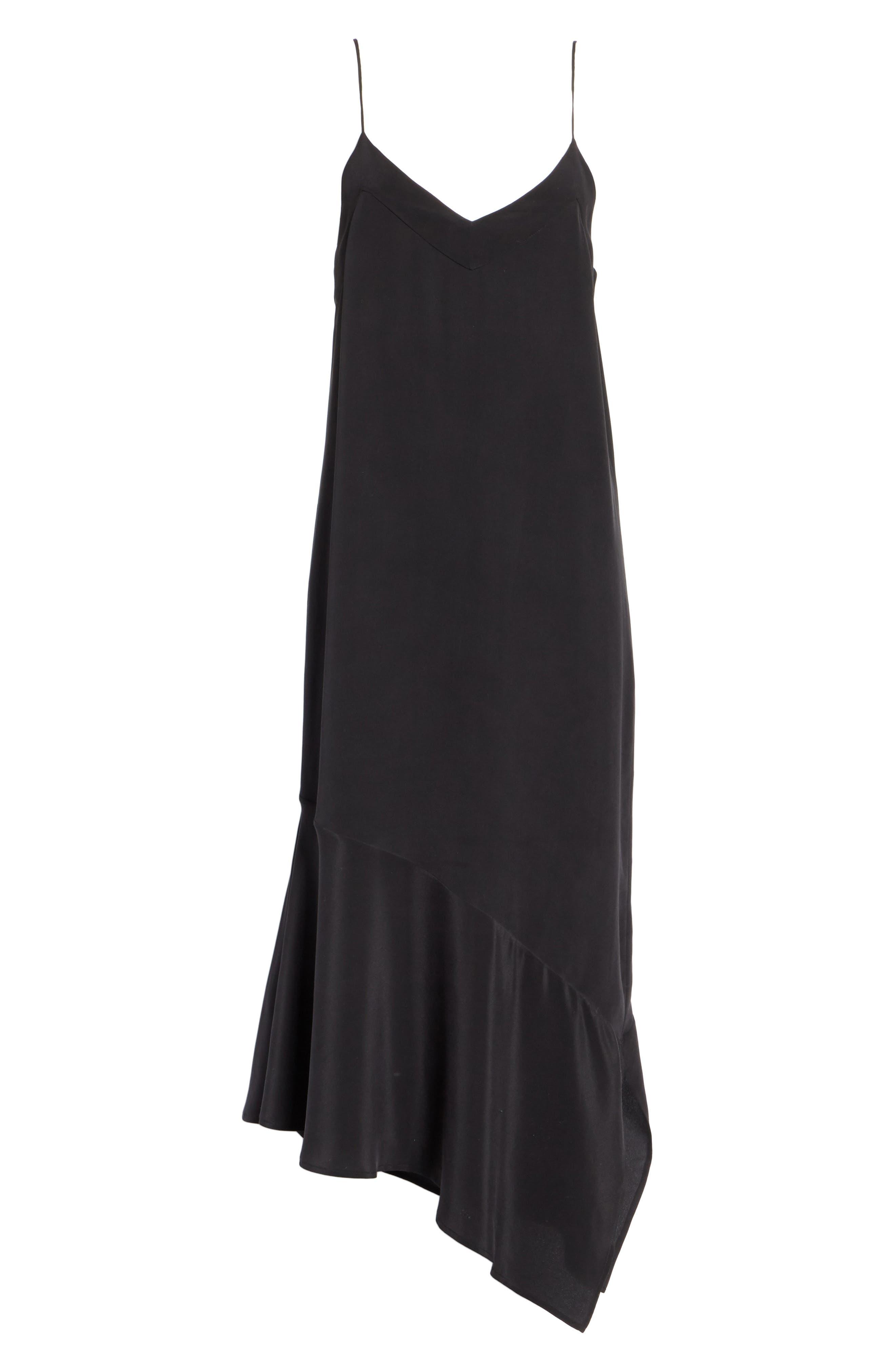 Jada Asymmetrical Silk Slip Dress,                             Alternate thumbnail 7, color,                             003