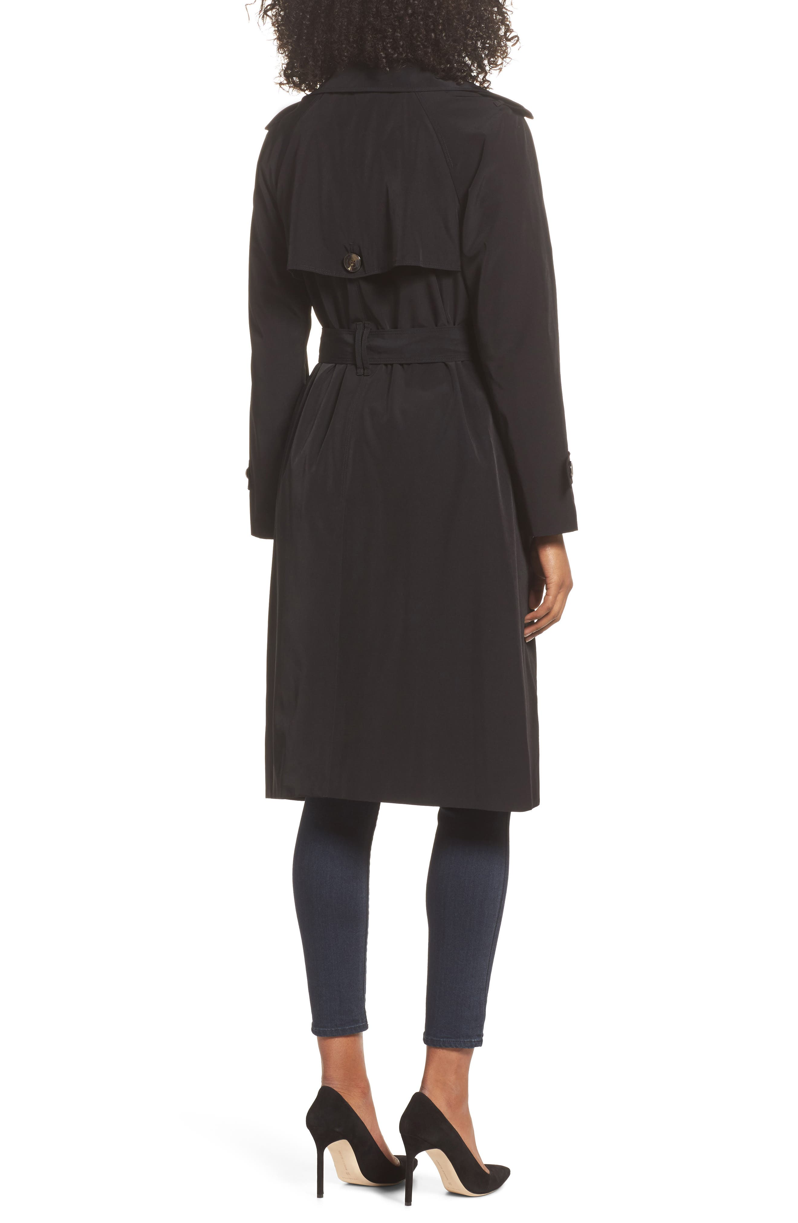 Long Double Breasted Trench Coat,                             Alternate thumbnail 2, color,                             BLACK