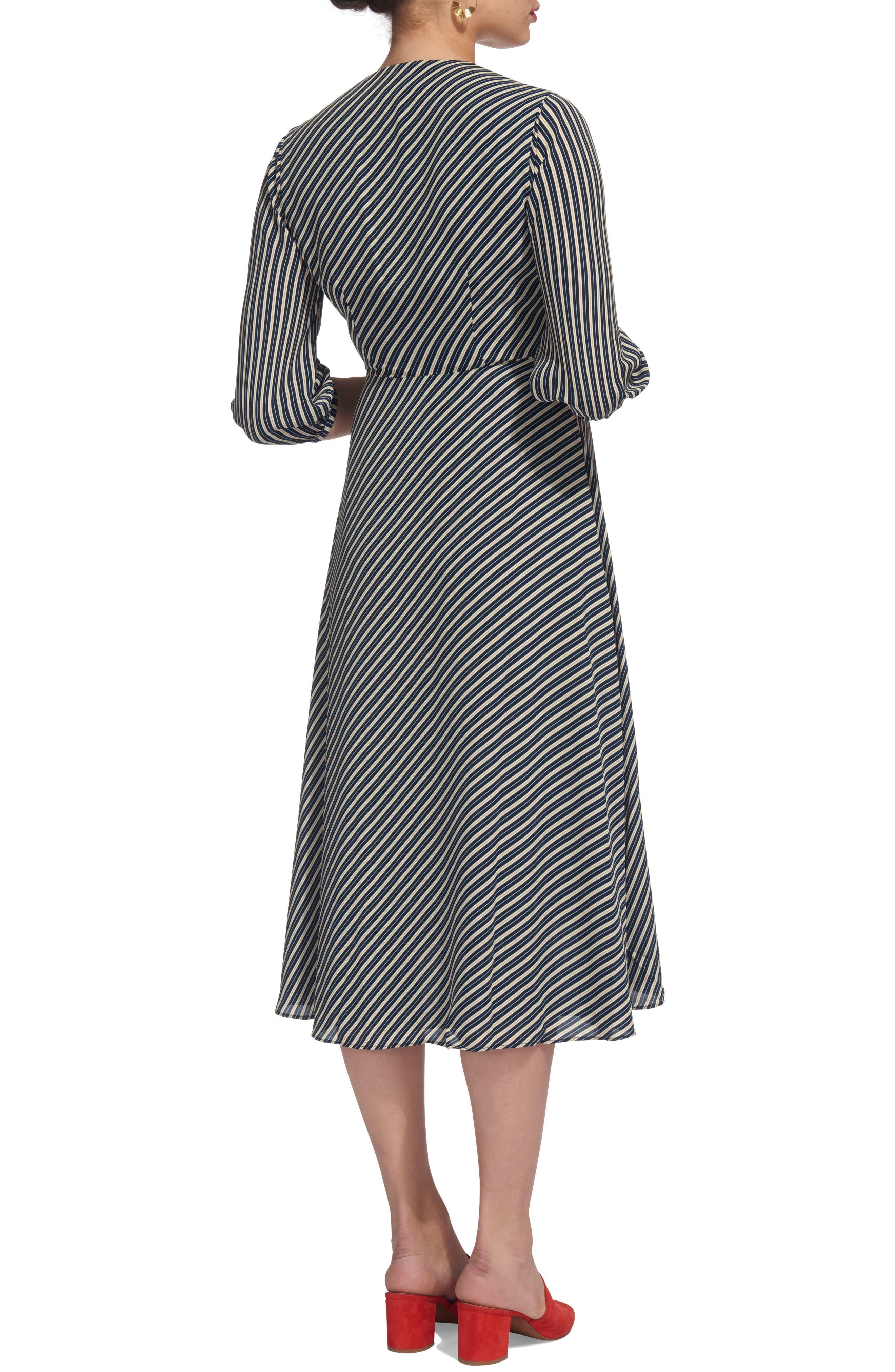 Callie Stripe Wrap Dress,                             Alternate thumbnail 2, color,                             400