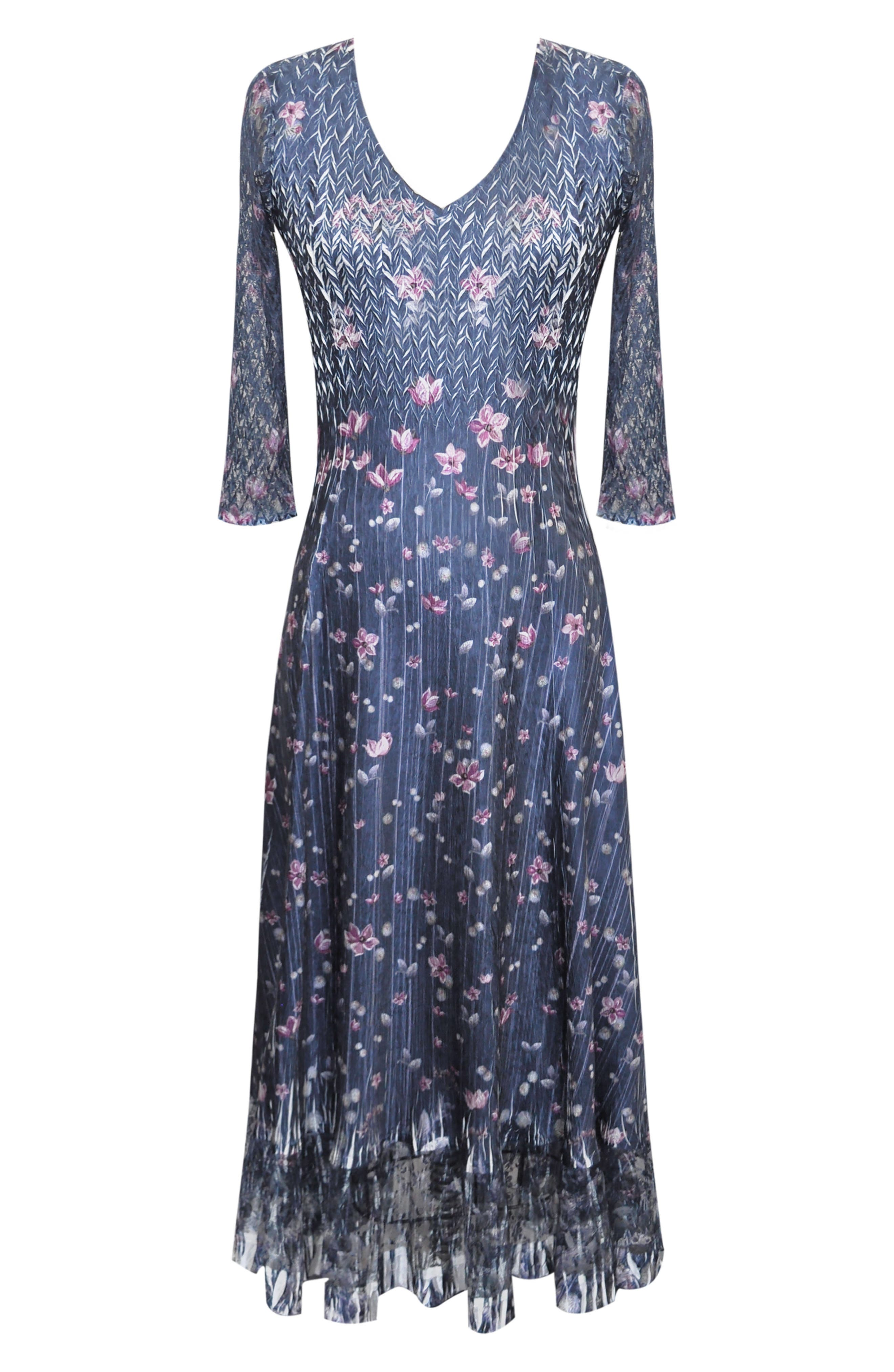 Lace Sleeve Charmeuse Midi Dress,                             Alternate thumbnail 4, color,                             WILD THISTLE