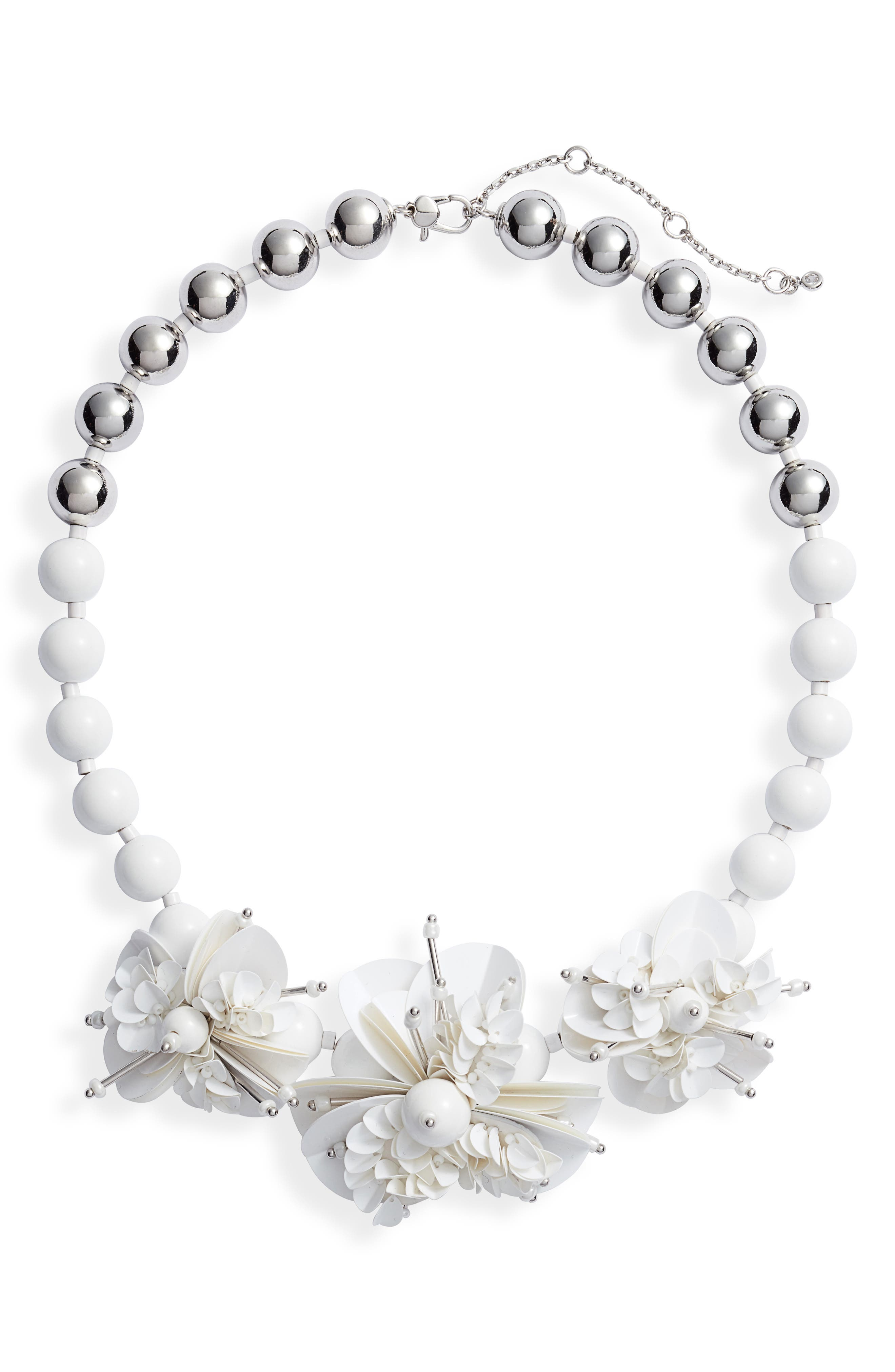 KATE SPADE NEW YORK vibrant life statement necklace, Main, color, WHITE MULTI