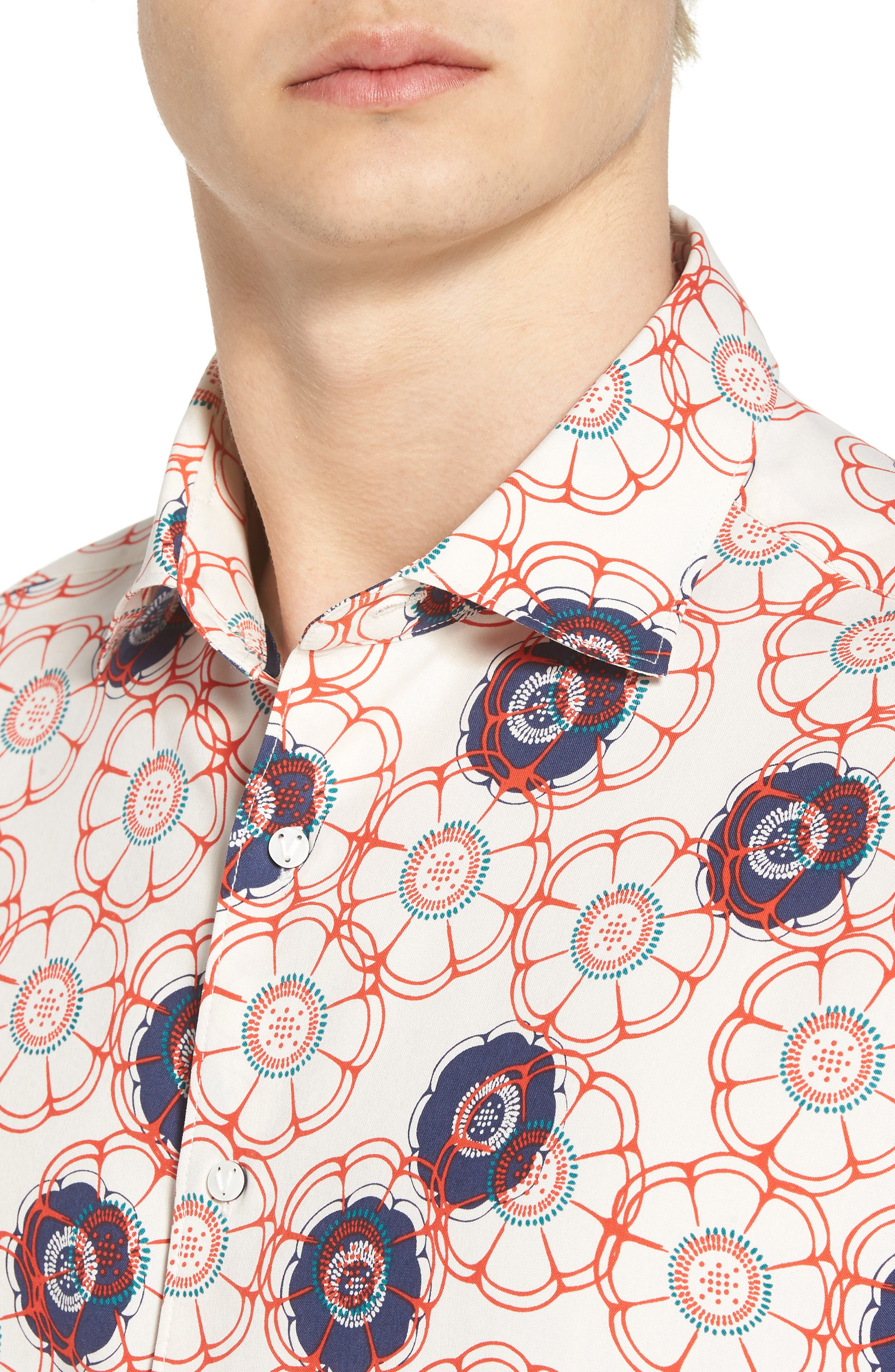 Tailor Fit Floral Print Silk Shirt,                             Alternate thumbnail 4, color,                             CANVAS/ RED CORAL