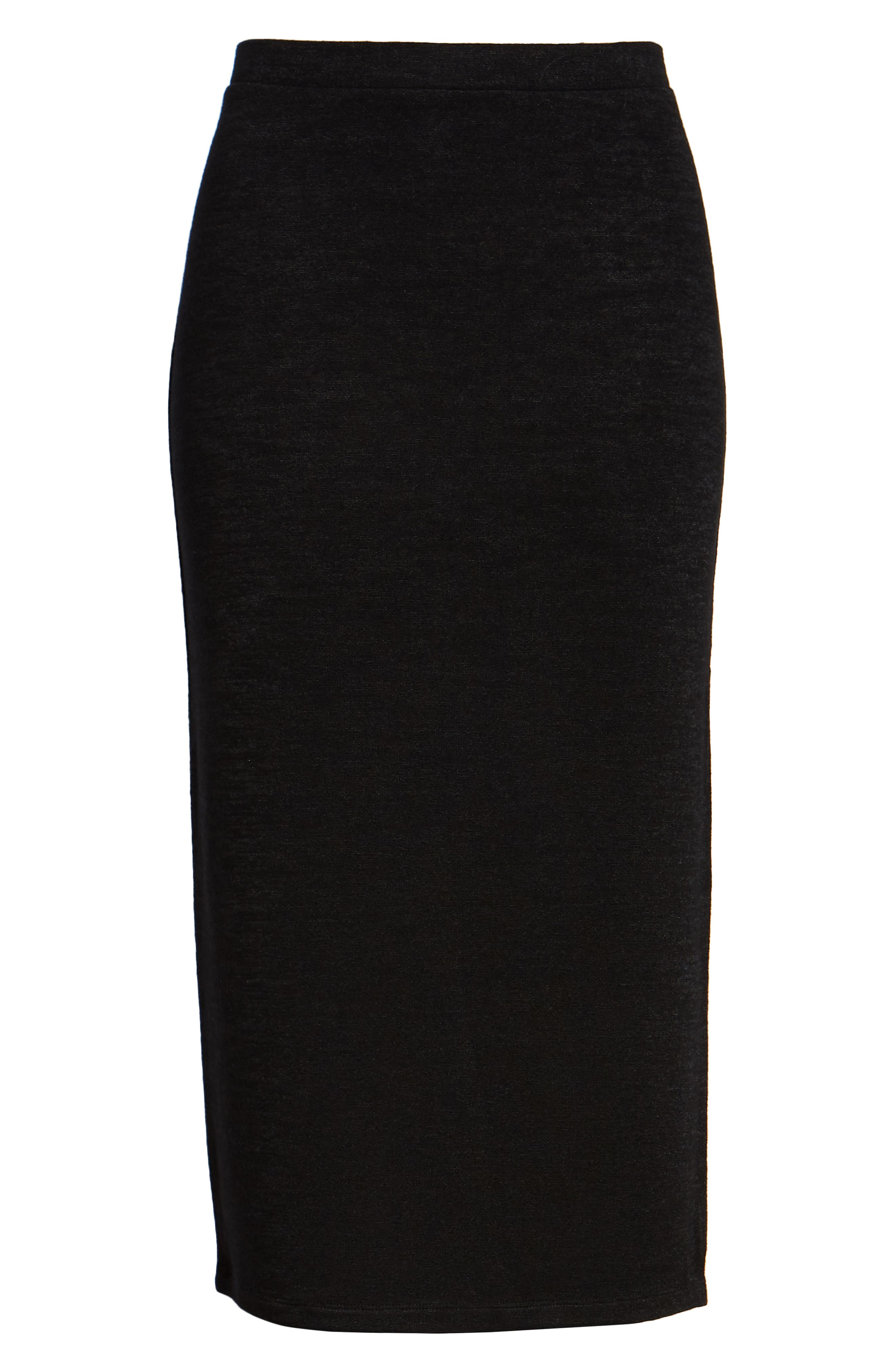 High Slit Marled Midi Skirt,                             Alternate thumbnail 6, color,                             BLACK