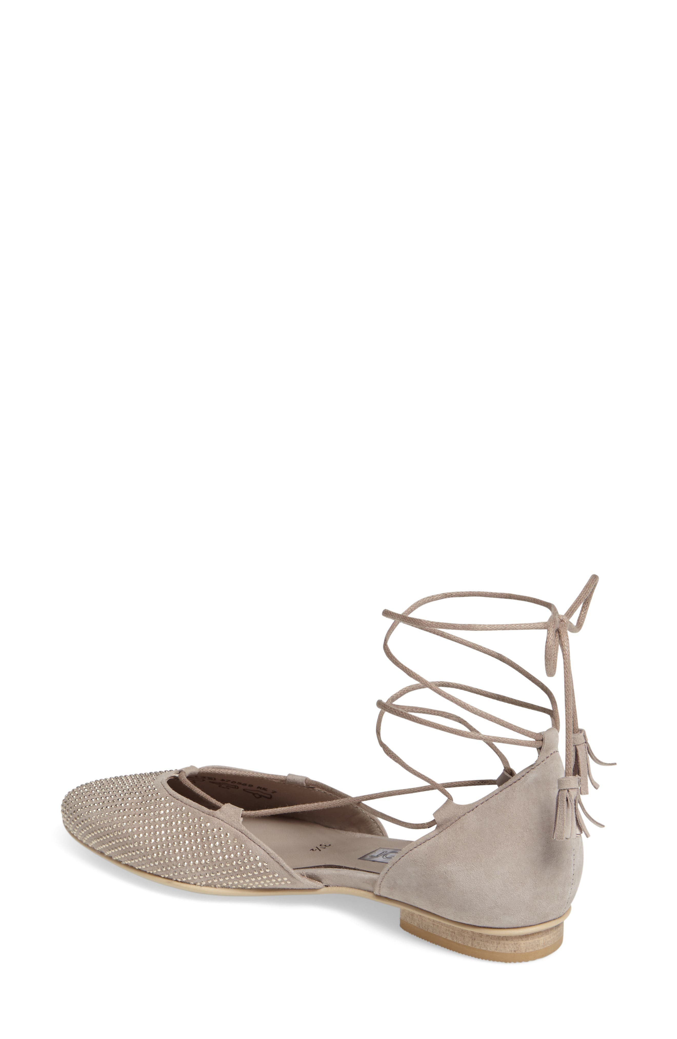 Studded Lace-Up Flat,                             Alternate thumbnail 2, color,                             TAUPE NUBUCK
