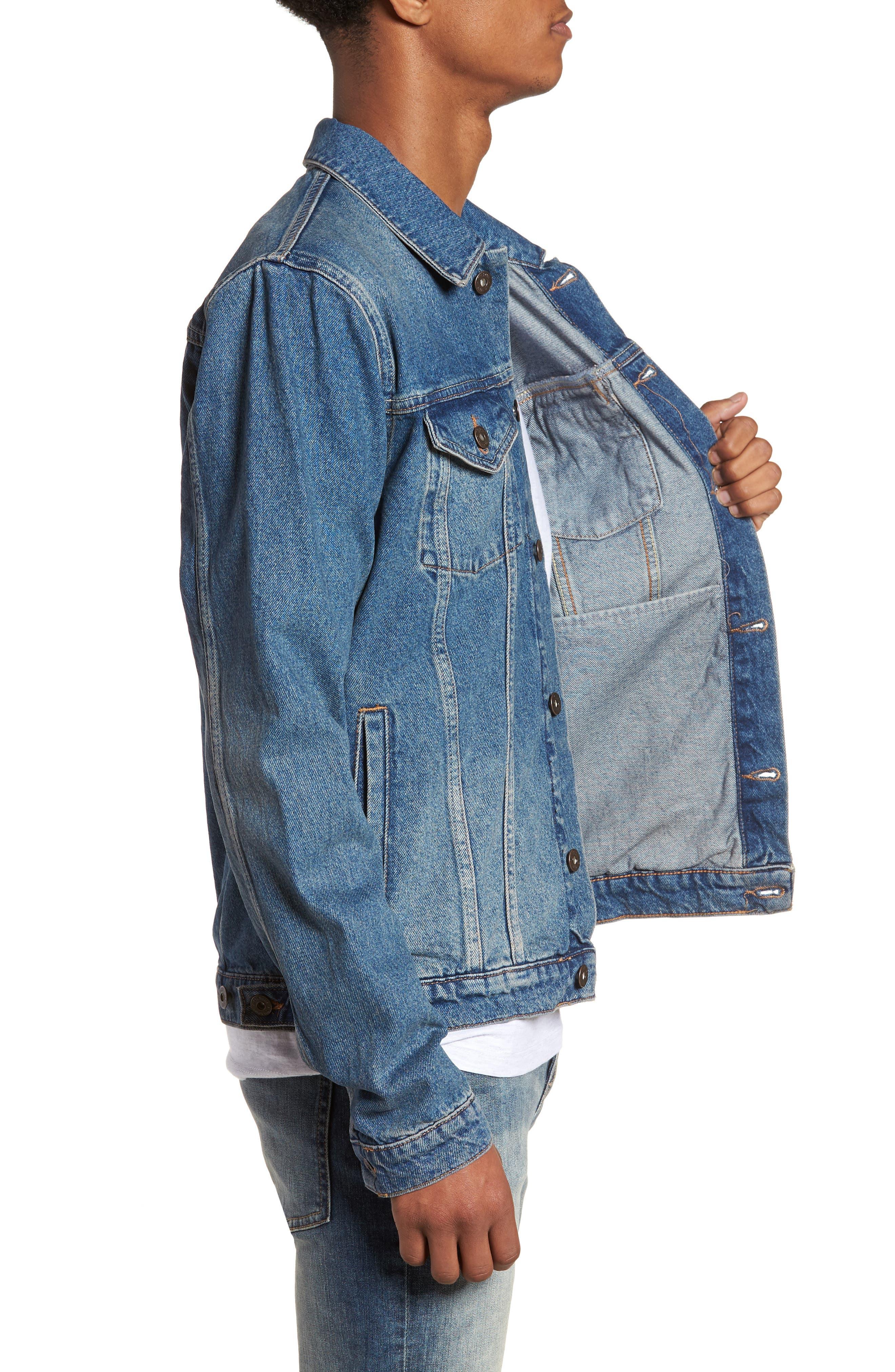 Mid Wash Denim Jacket,                             Alternate thumbnail 3, color,                             420