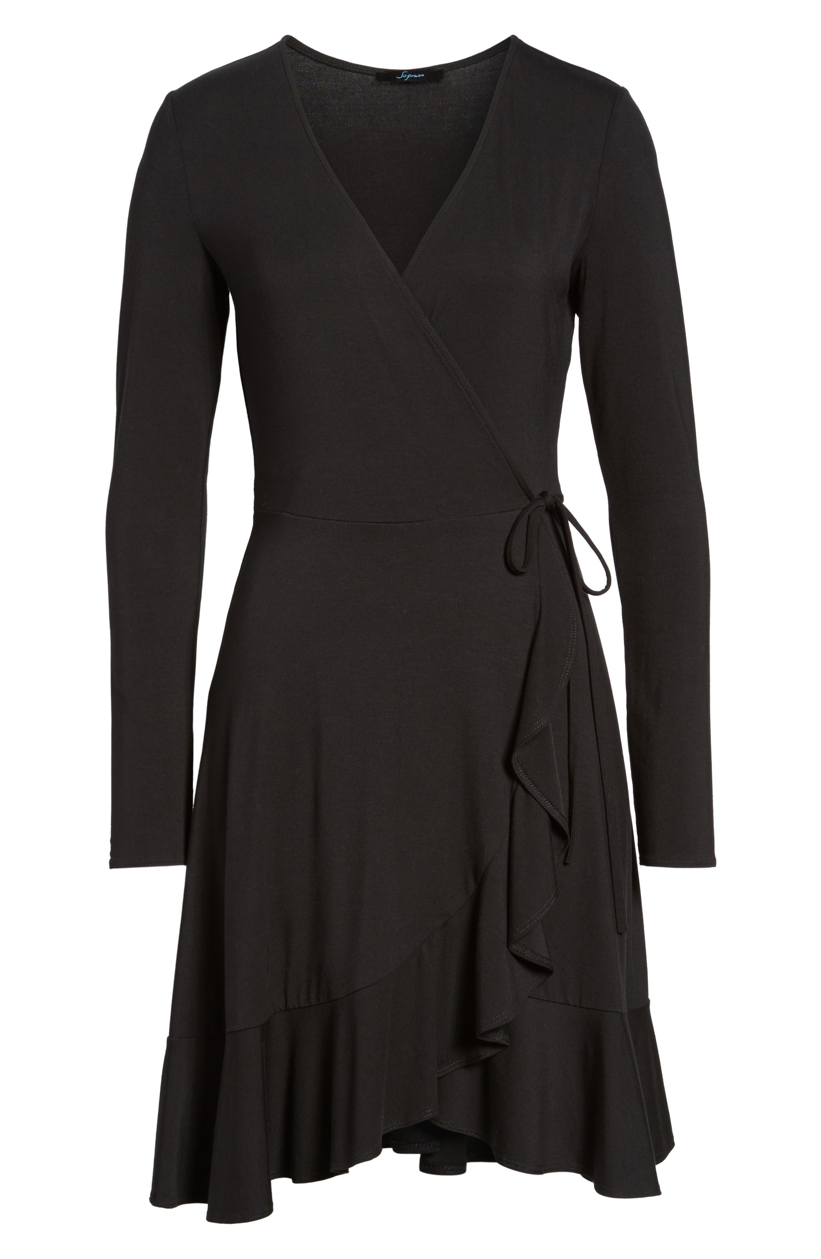 Ruffle Wrap Dress,                             Alternate thumbnail 6, color,                             003