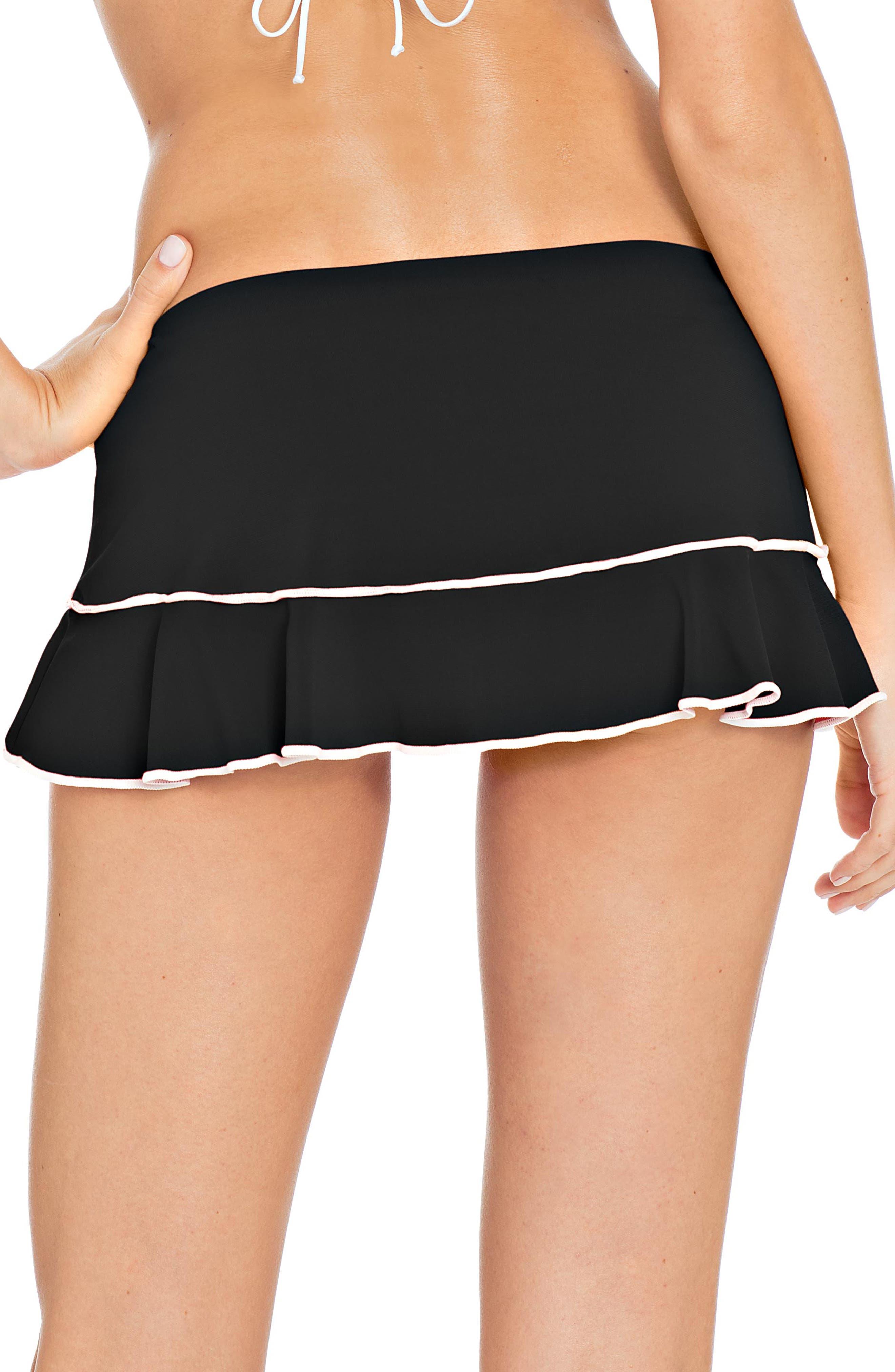 Malia Skirted Bikini Bottoms,                             Alternate thumbnail 2, color,                             BLACK/ WHITE