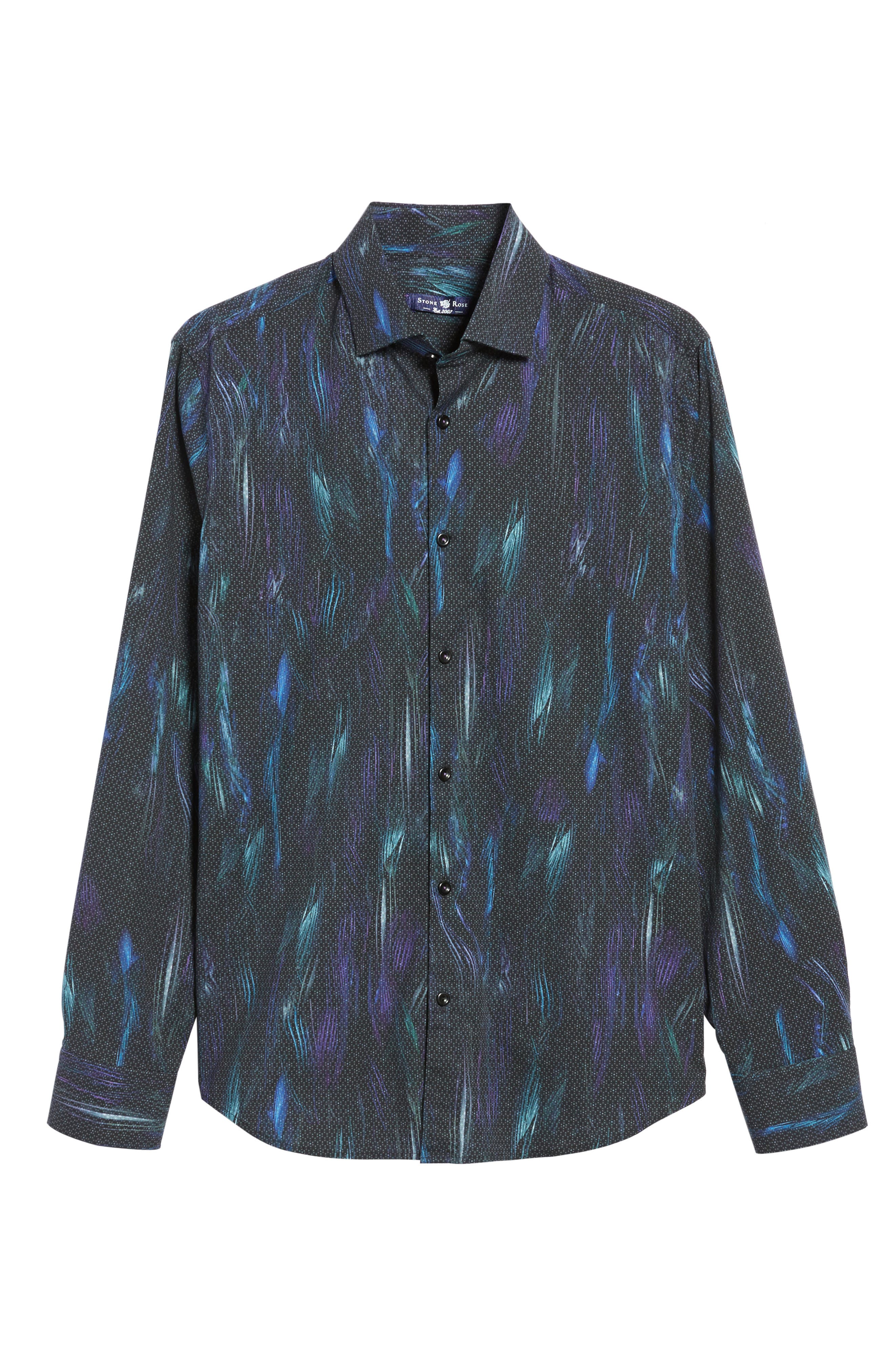 STONE ROSE,                             Slim Fit Geo FX Print Sport Shirt,                             Alternate thumbnail 6, color,                             001