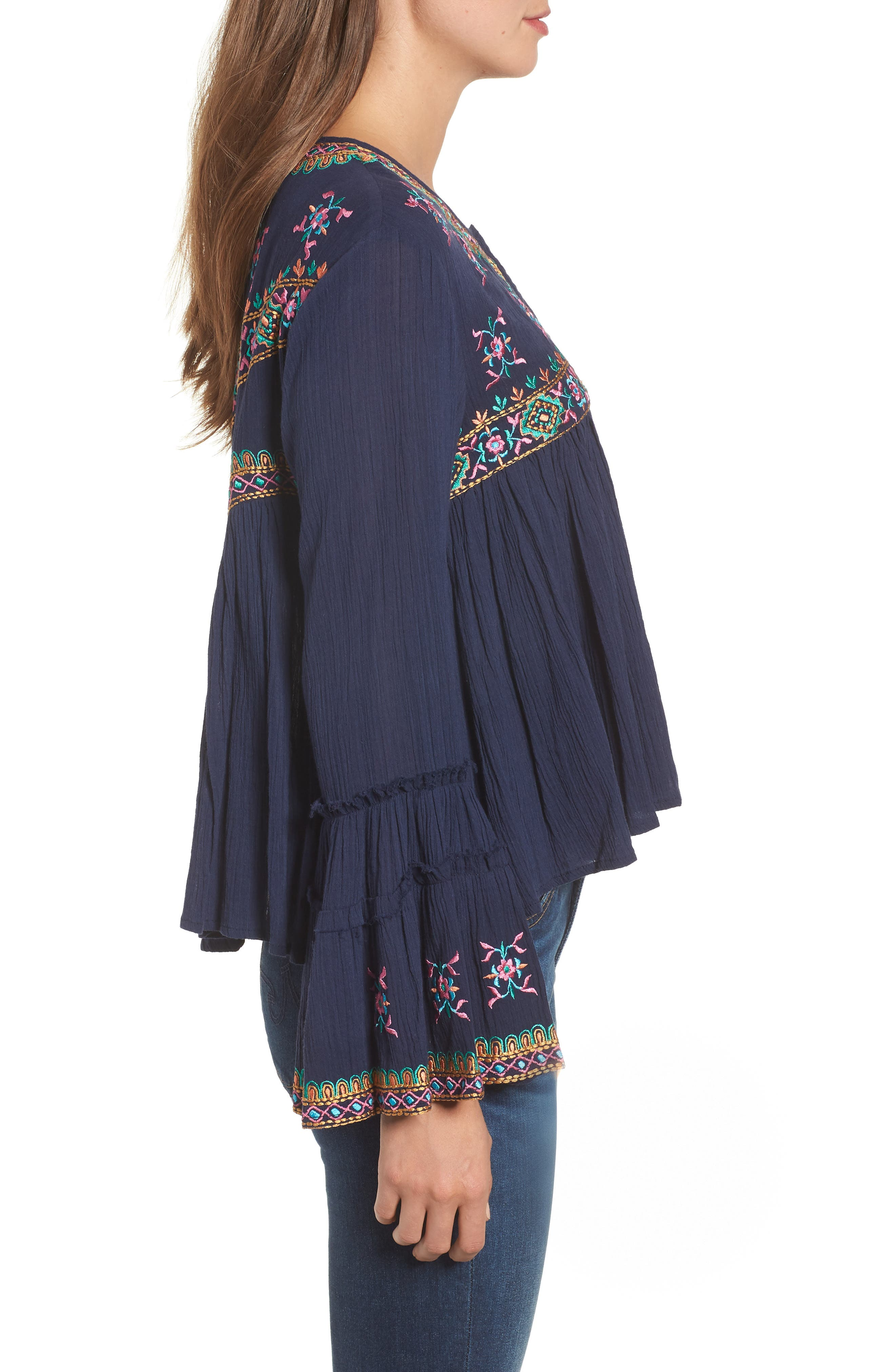 Megan Embroidered Cotton Gauze Blouse,                             Alternate thumbnail 3, color,                             NAVY