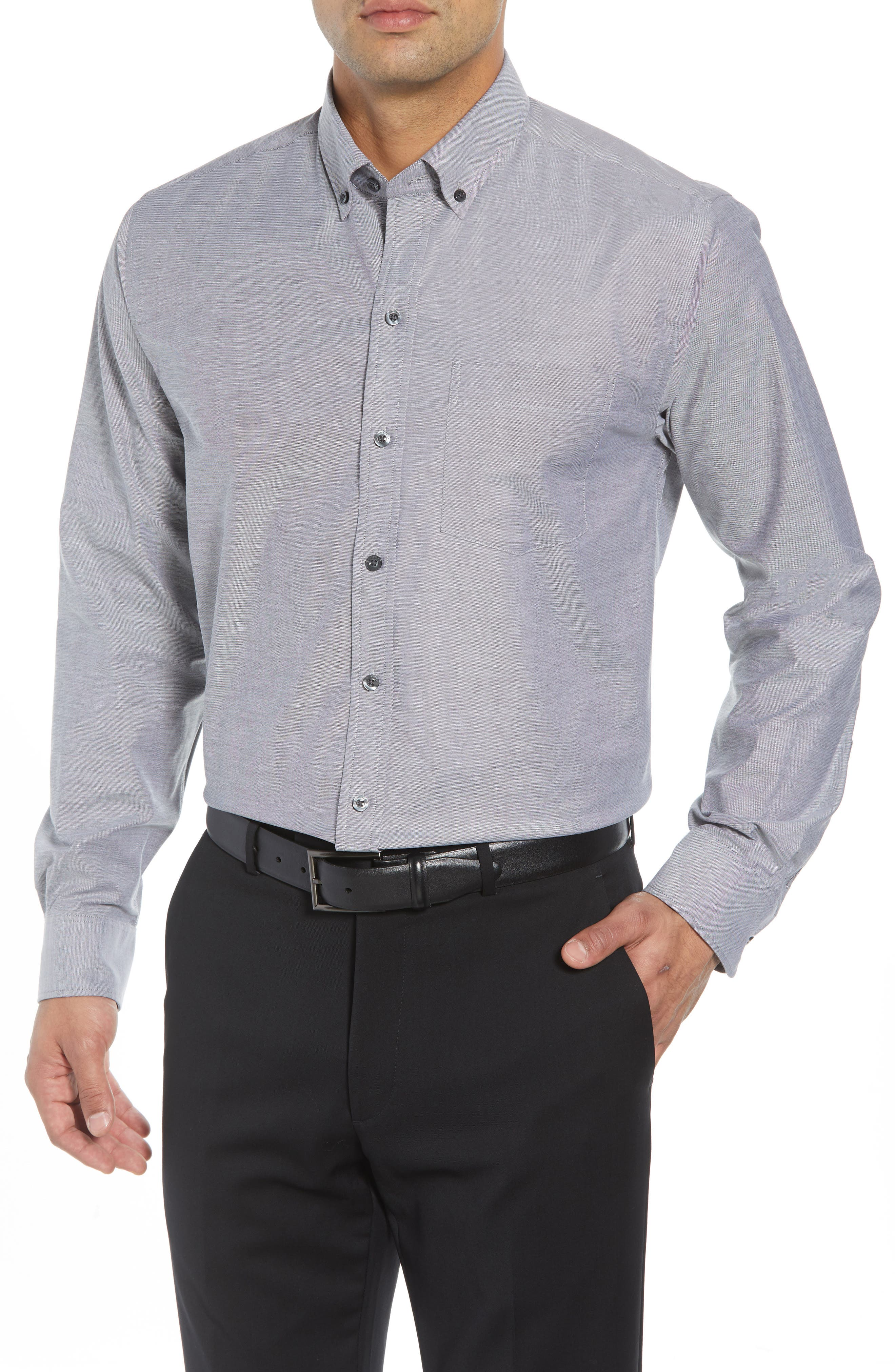 Tailor Regular Fit Oxford Sport Shirt,                         Main,                         color, CHARCOAL 2