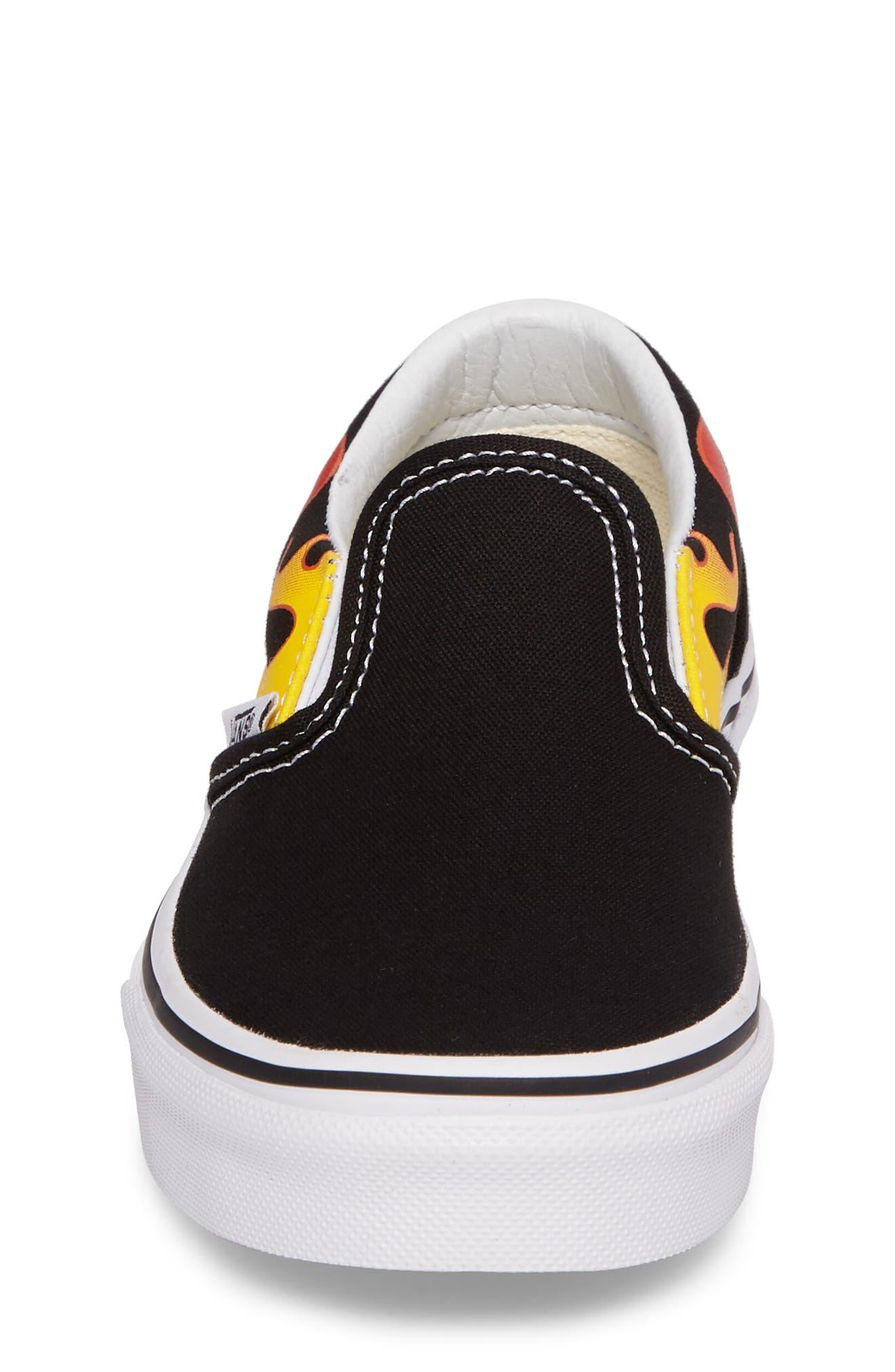 Flame Classic Slip-On Sneaker,                             Alternate thumbnail 4, color,                             002