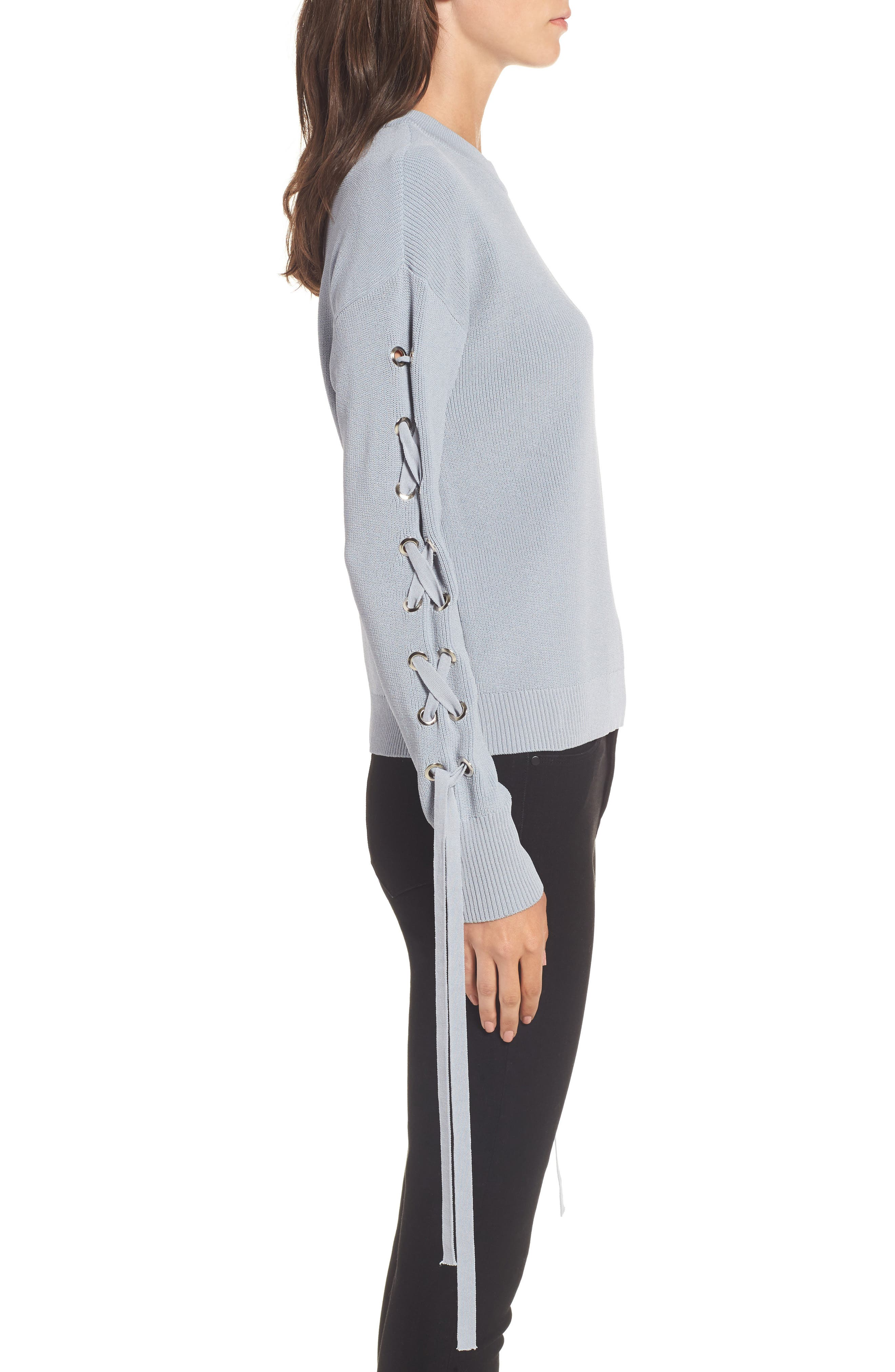 Lace-Up Sleeve Sweater,                             Alternate thumbnail 3, color,                             400