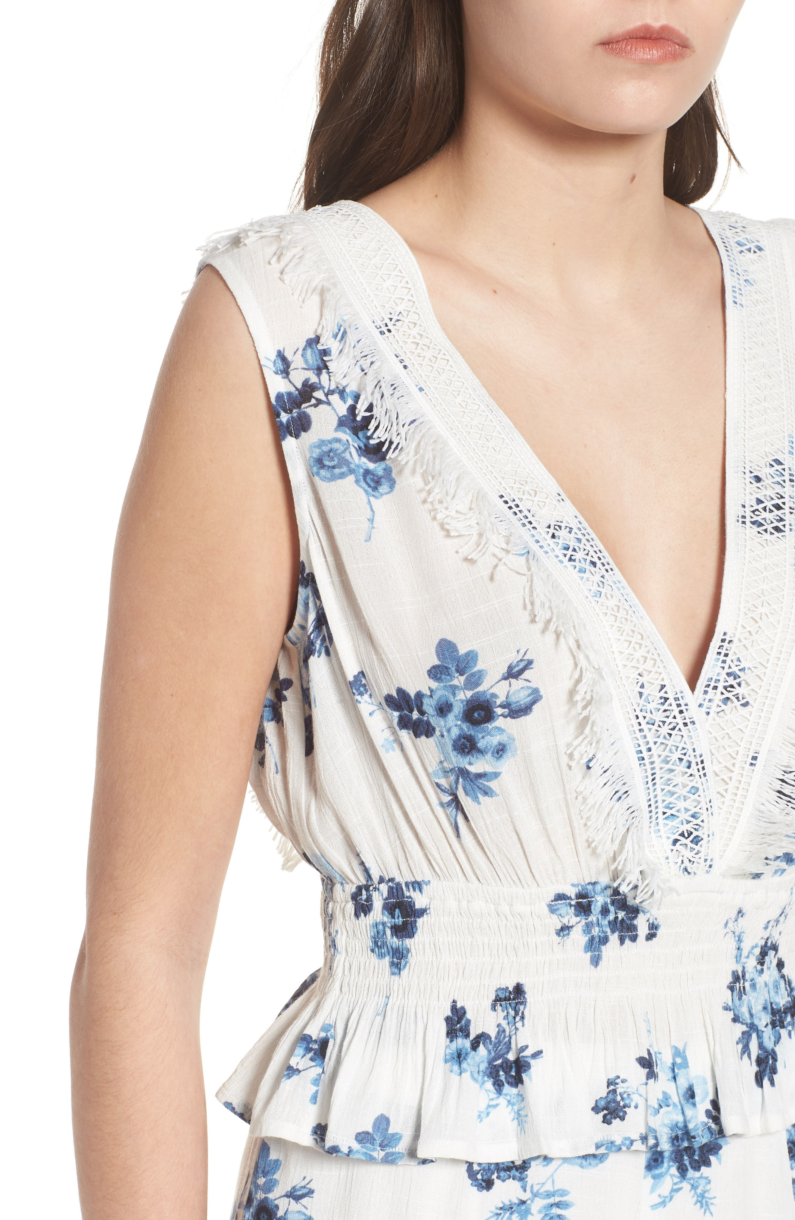 Lace Trim Floral Top,                             Alternate thumbnail 4, color,                             402