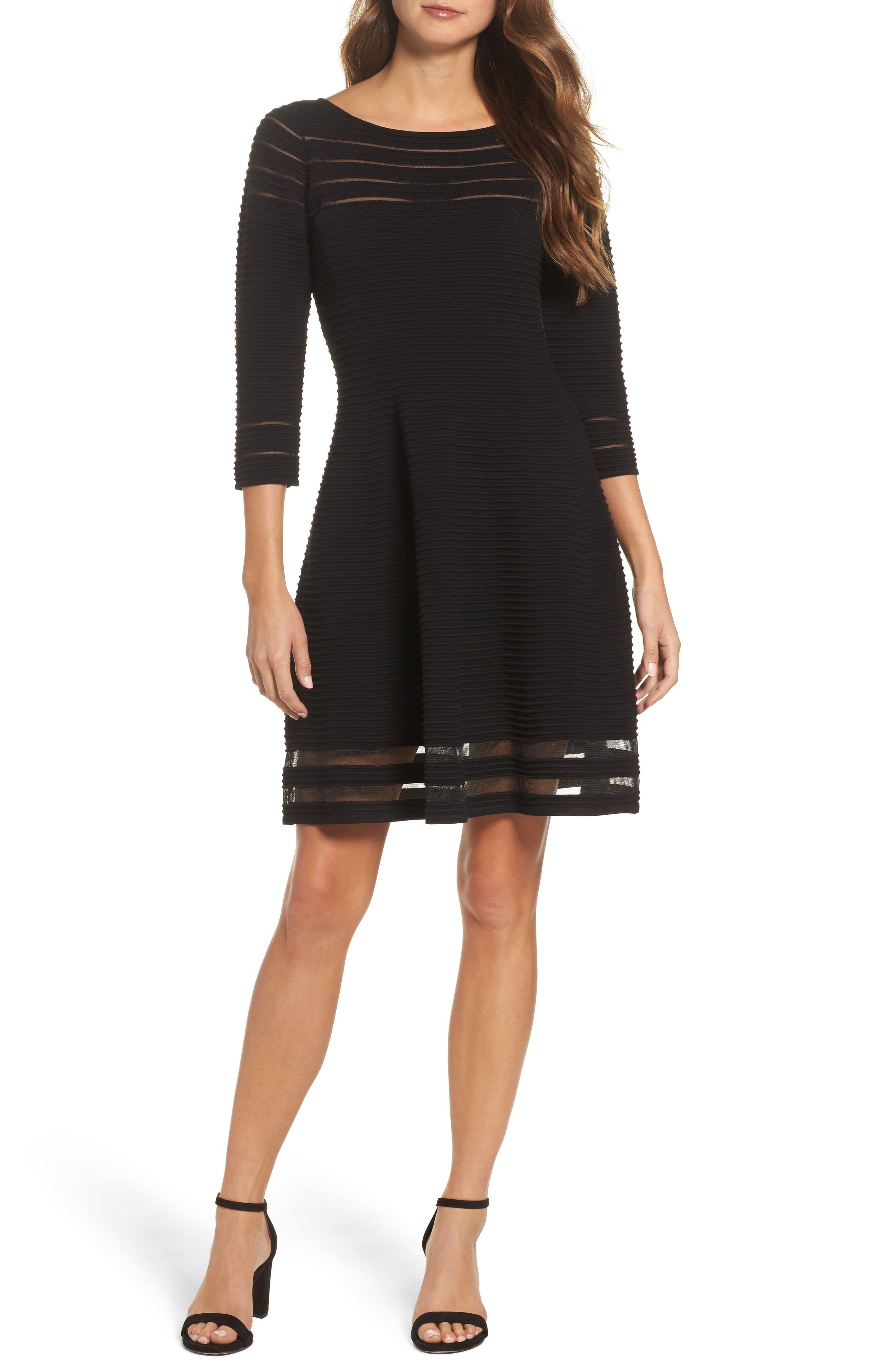 Mesh Fit & Flare Dress,                         Main,                         color, BLACK