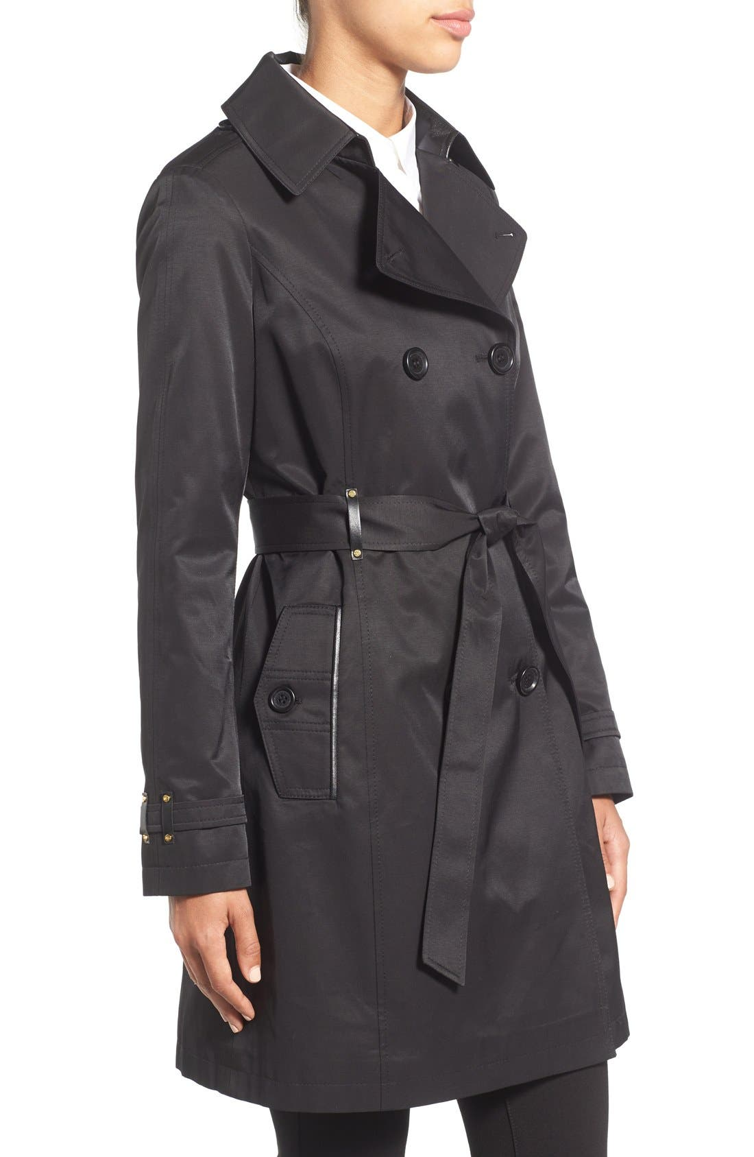 Double Breasted Trench with Faux Leather Trim,                             Alternate thumbnail 3, color,                             001