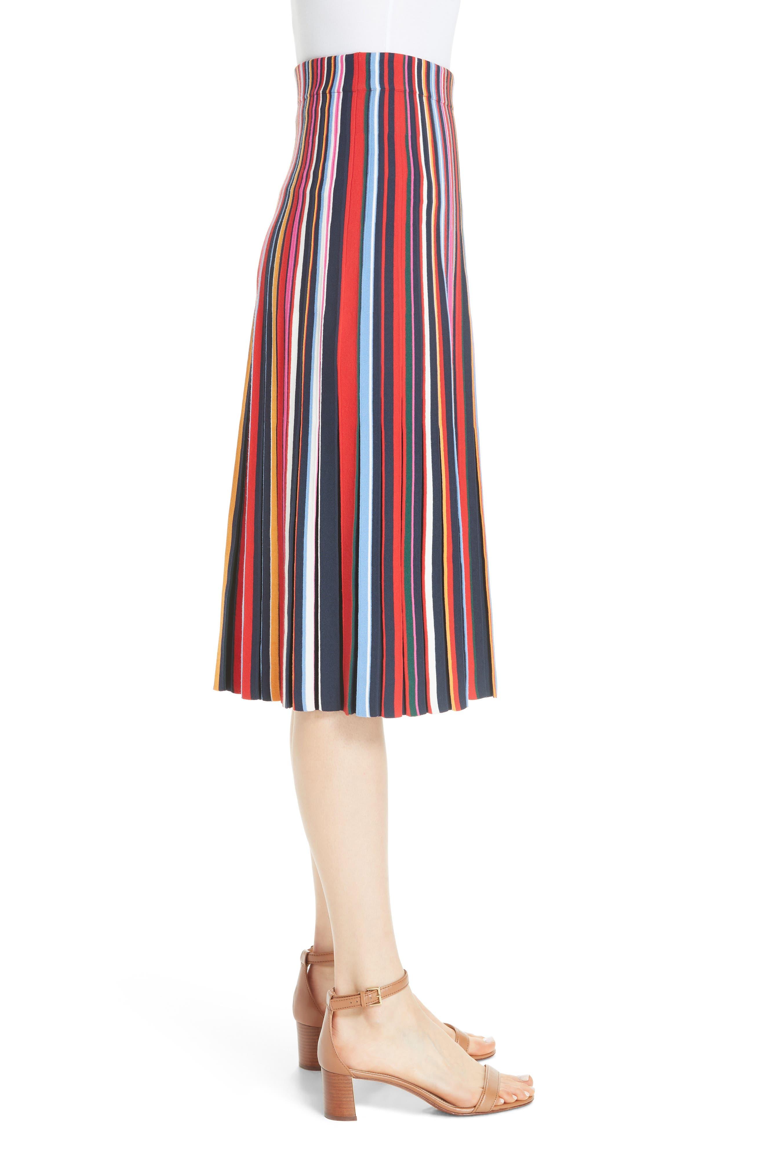 Ellis Stripe Pleated Skirt,                             Alternate thumbnail 3, color,                             405