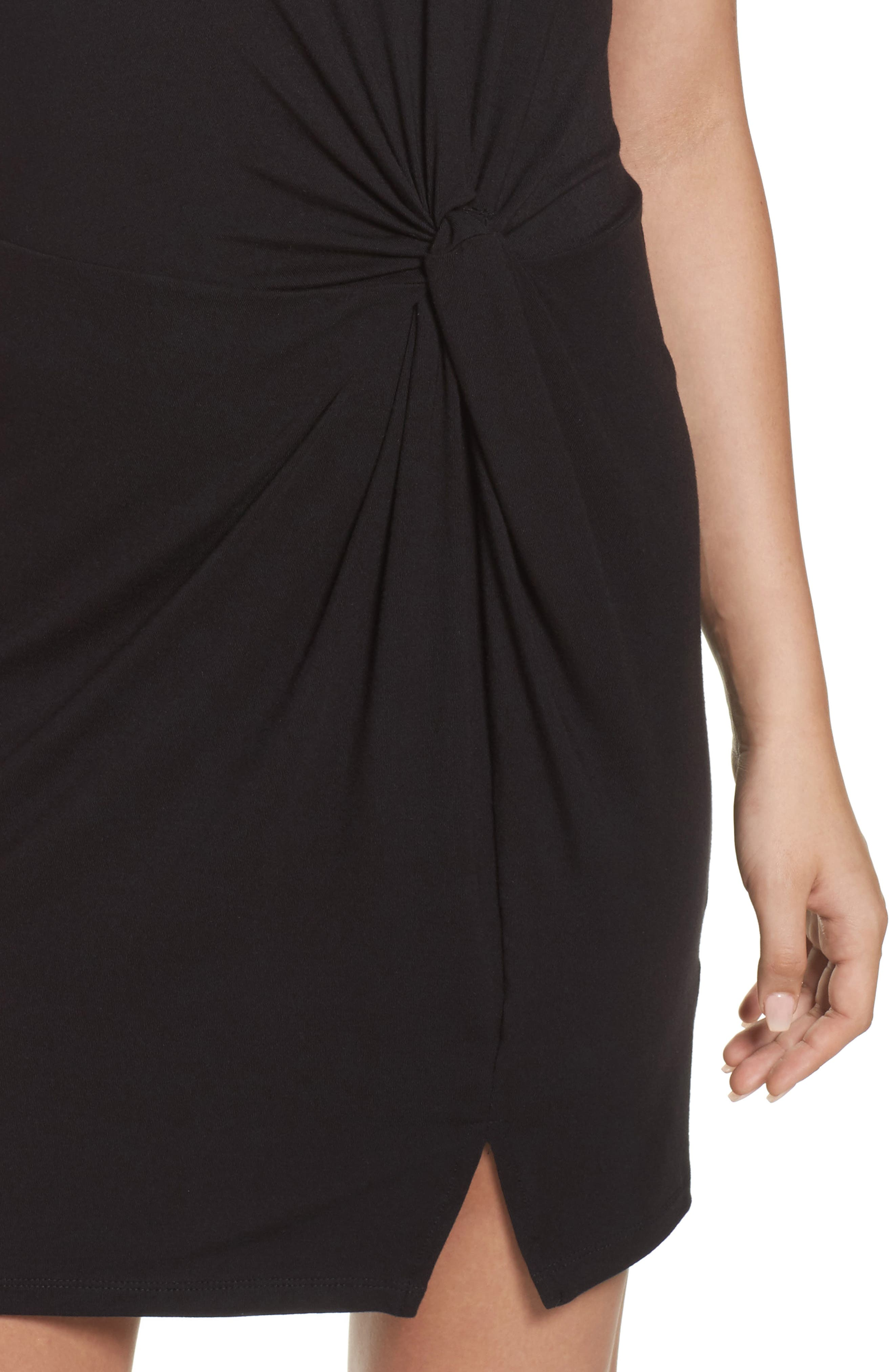 Knot Front T-Shirt Dress,                             Alternate thumbnail 4, color,                             004