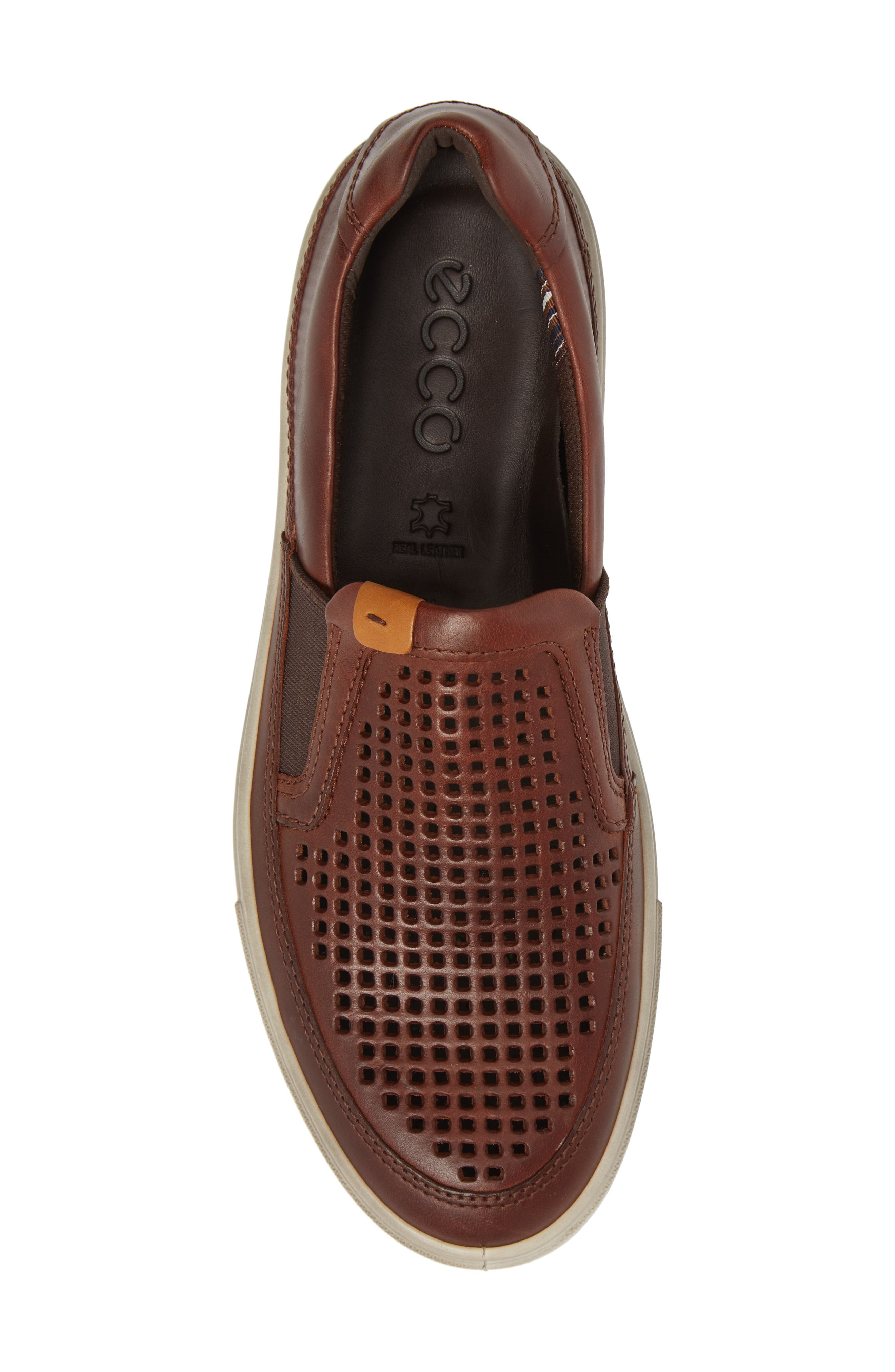Kyle Perforated Slip-On Sneaker,                             Alternate thumbnail 5, color,                             COGNAC LEATHER