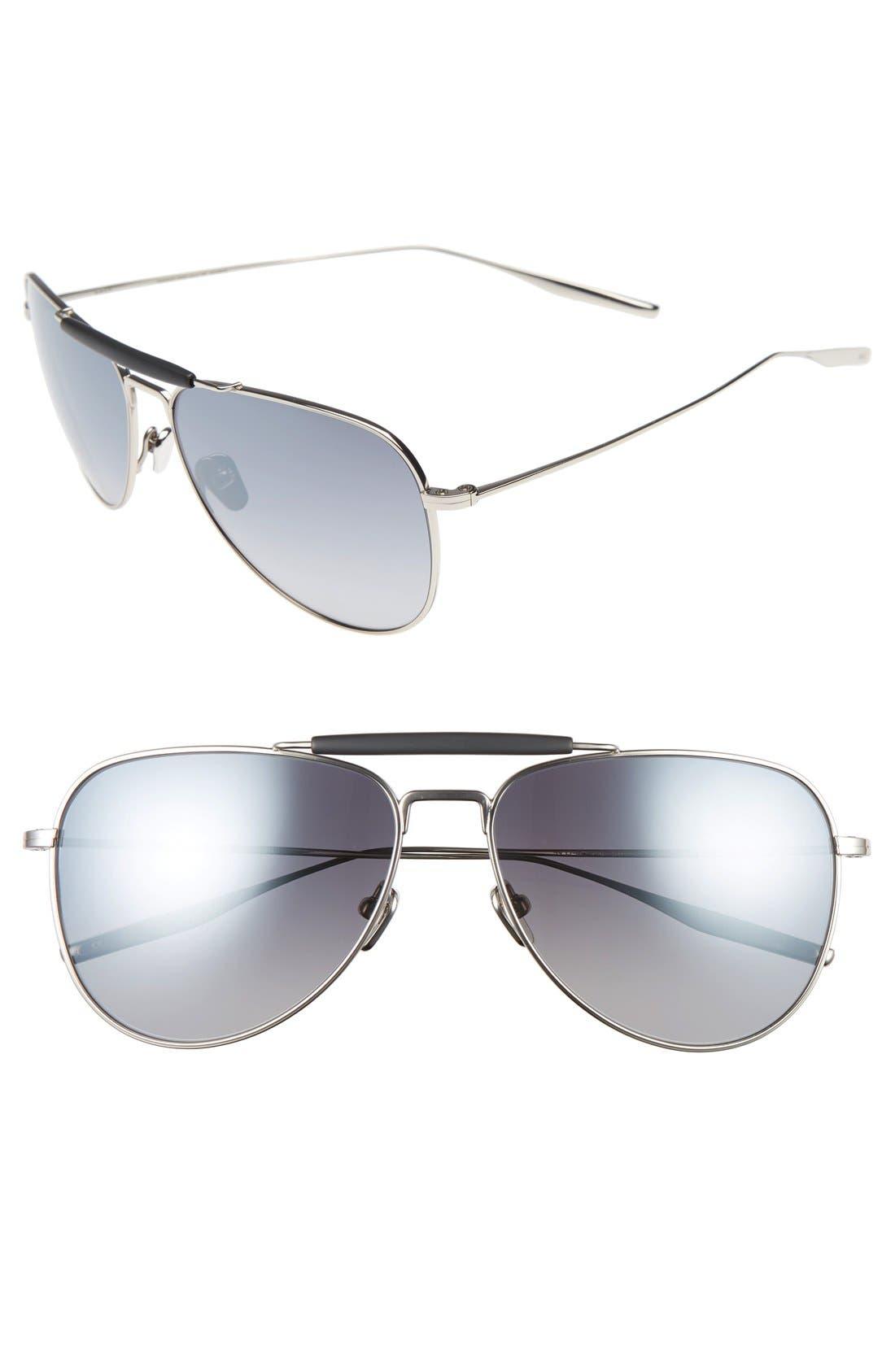 Striker 59mm Aviator Sunglasses,                             Main thumbnail 1, color,                             TRADITIONAL SILVER