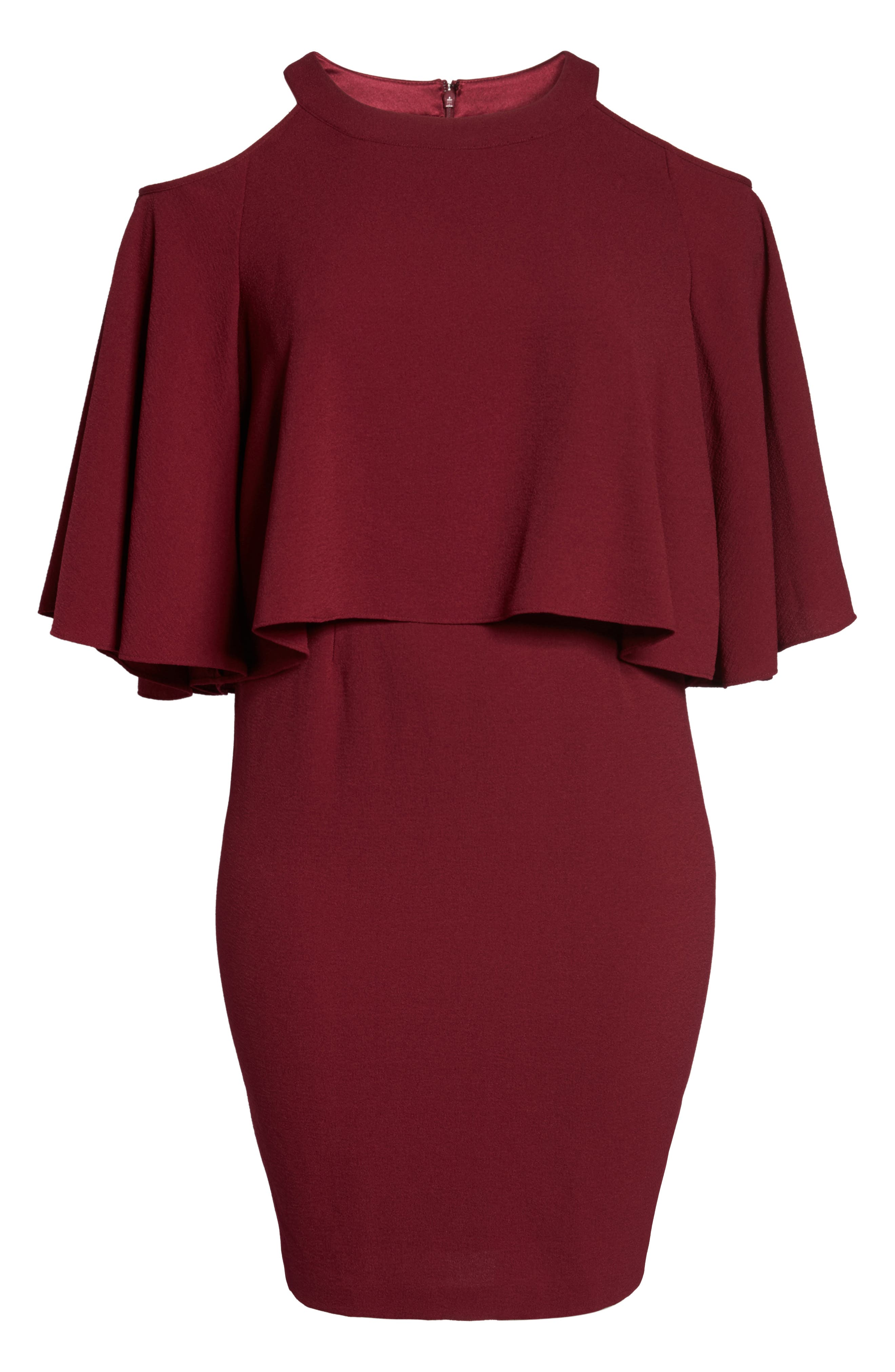 Cold Shoulder Crepe Sheath Dress,                             Alternate thumbnail 12, color,
