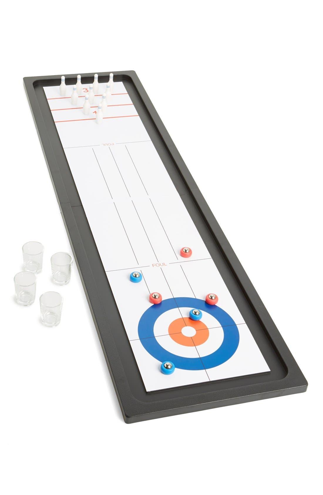 BARBUZZO Bowling & Shuffleboard Drinking Game Set, Main, color, 100