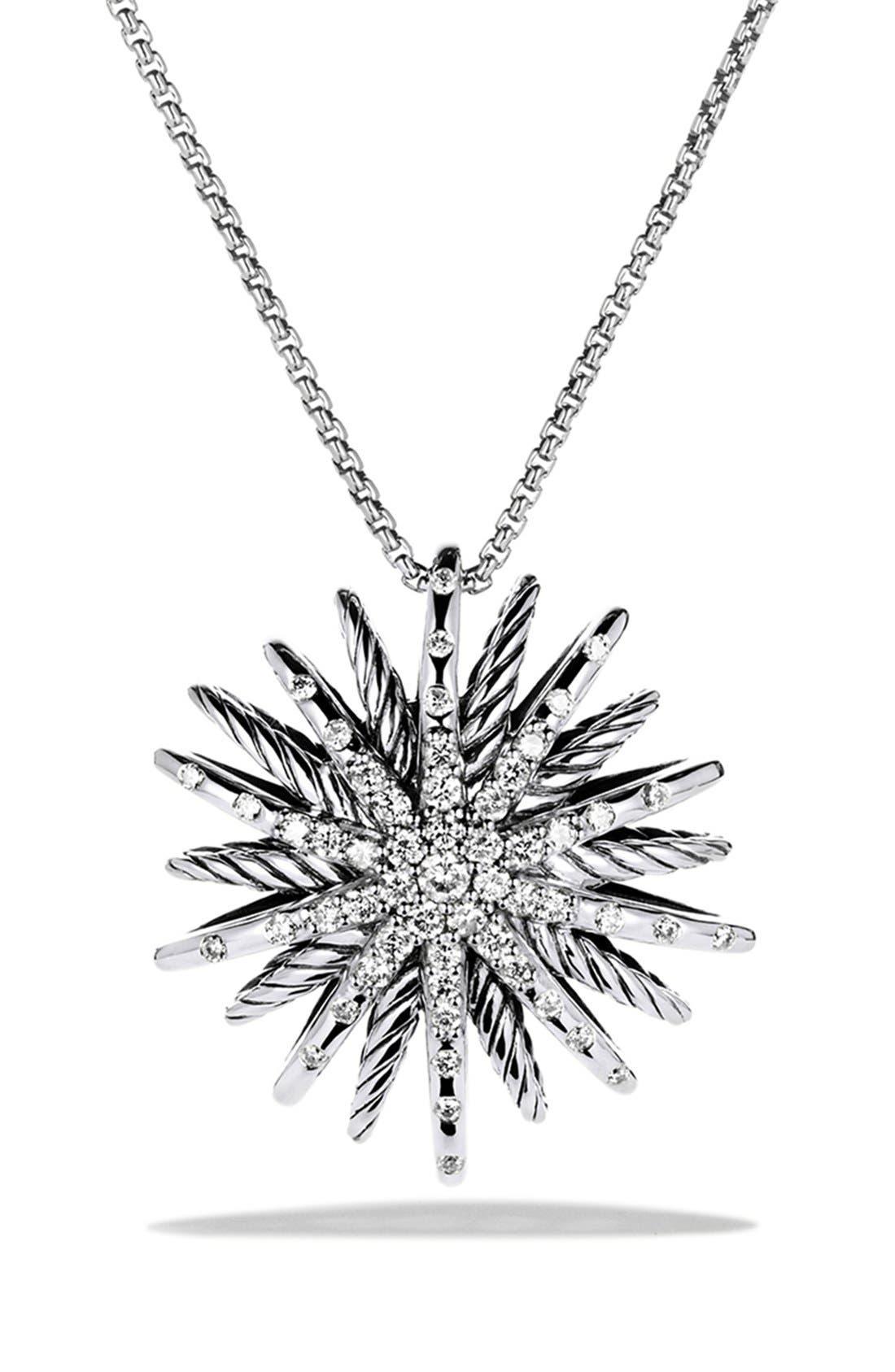 'Starburst' Medium Pendant with Diamonds on Chain,                             Main thumbnail 1, color,                             DIAMOND