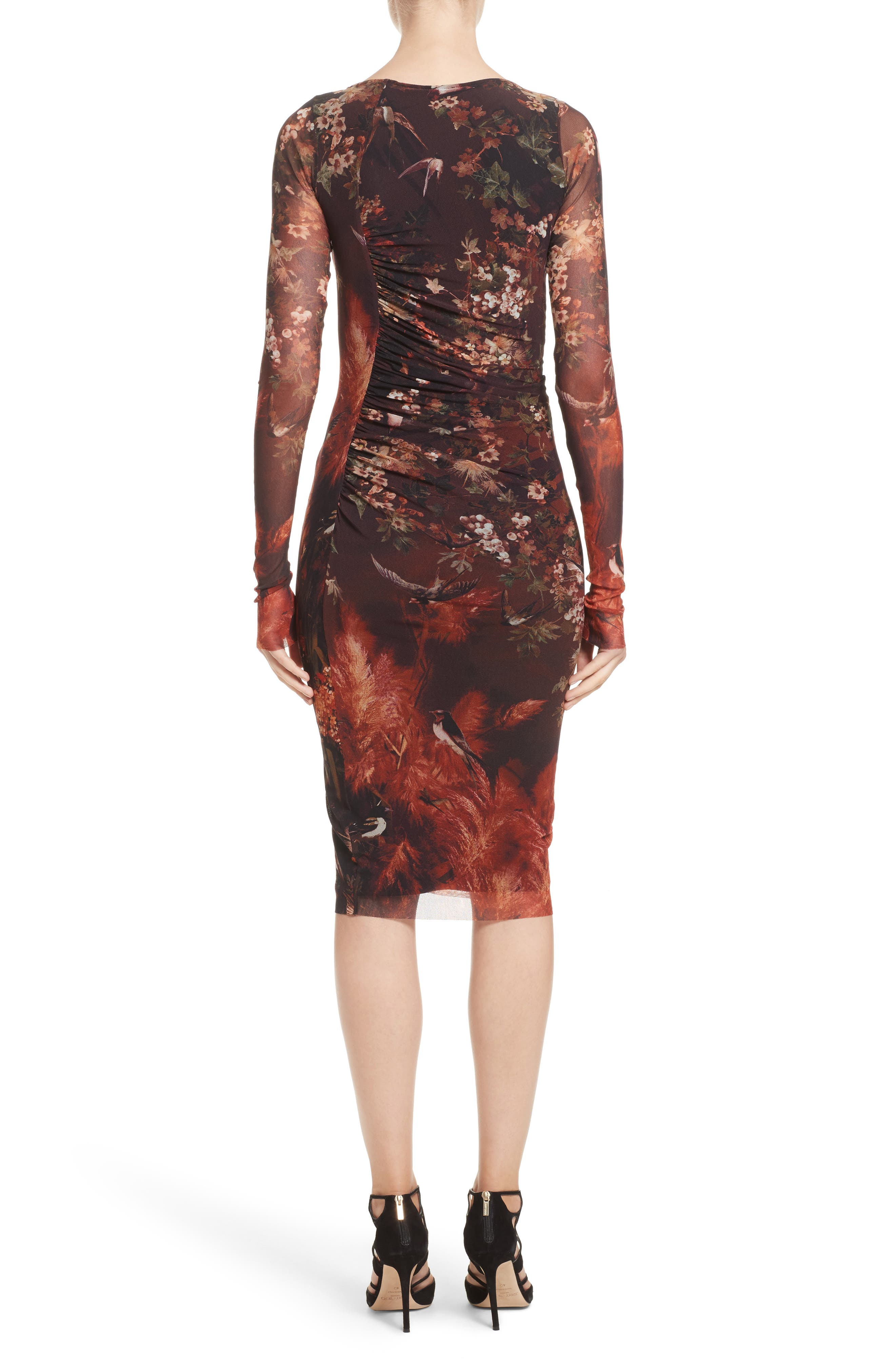 Hummingbird Print Ruched Tulle Dress,                             Alternate thumbnail 2, color,                             610