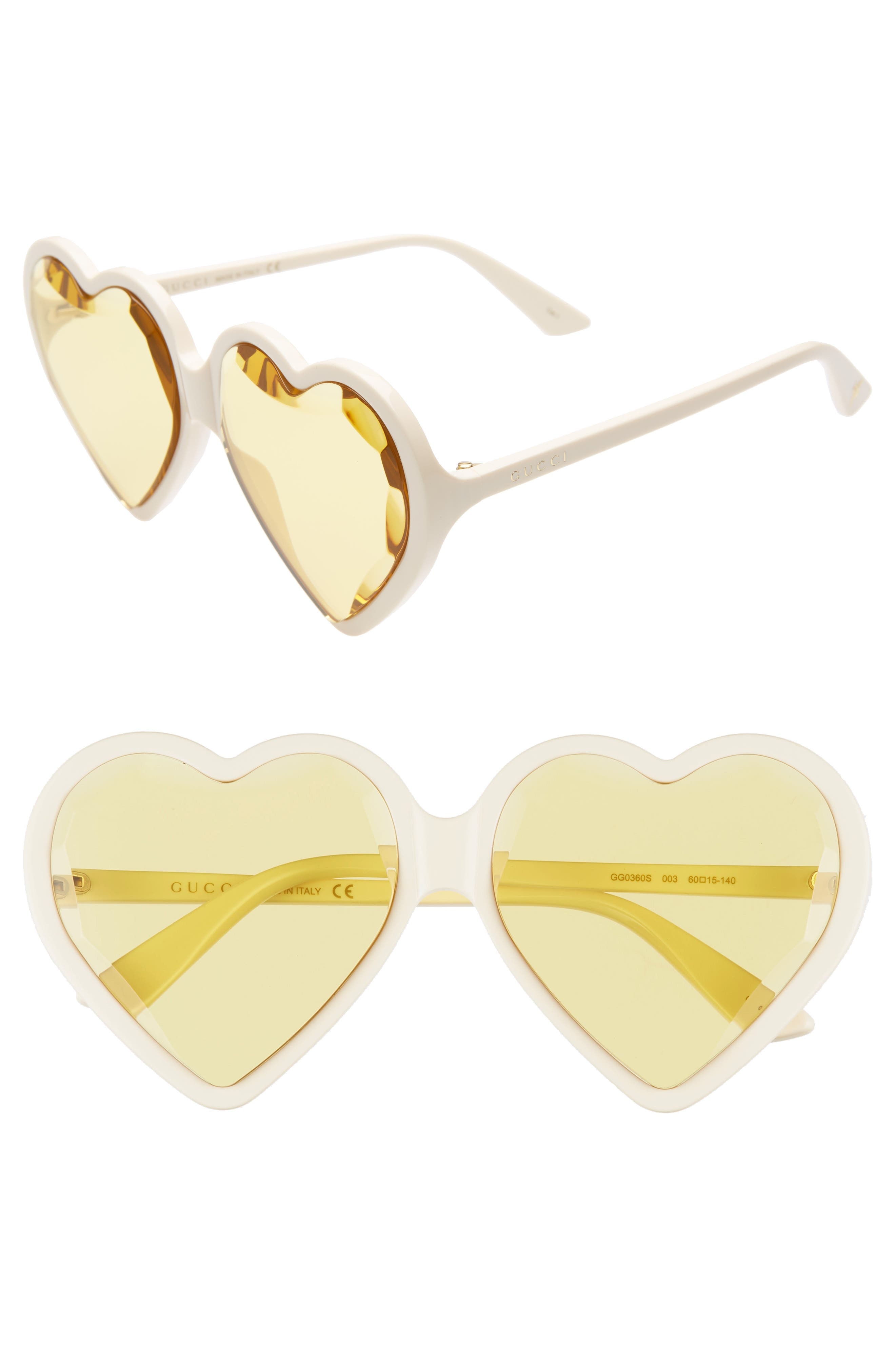 GUCCI 60mm Heart Sunglasses, Main, color, IVORY/ YELLOW
