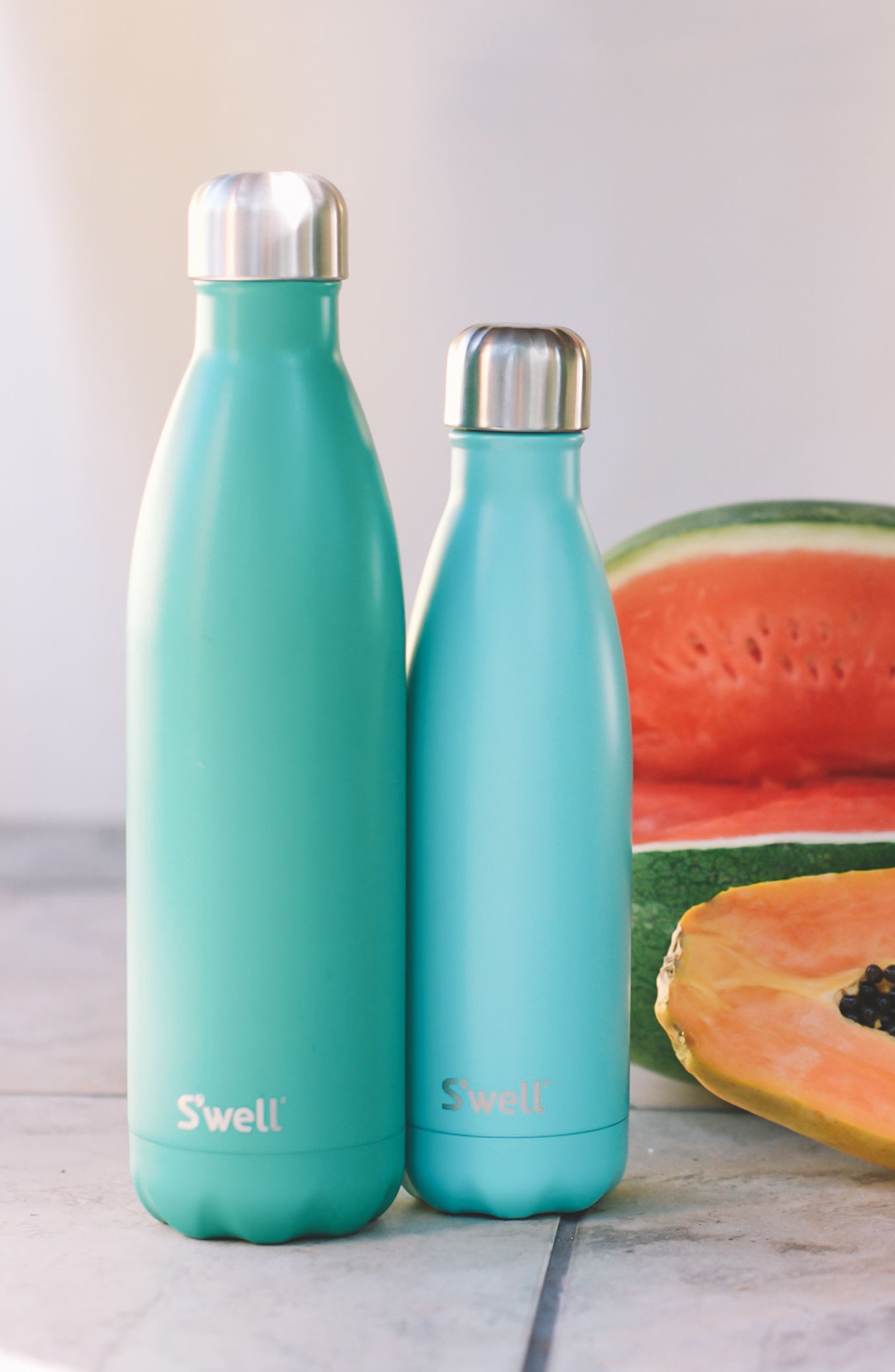 S'WELL,                             'Turquoise Blue' Stainless Steel Water Bottle,                             Alternate thumbnail 2, color,                             440