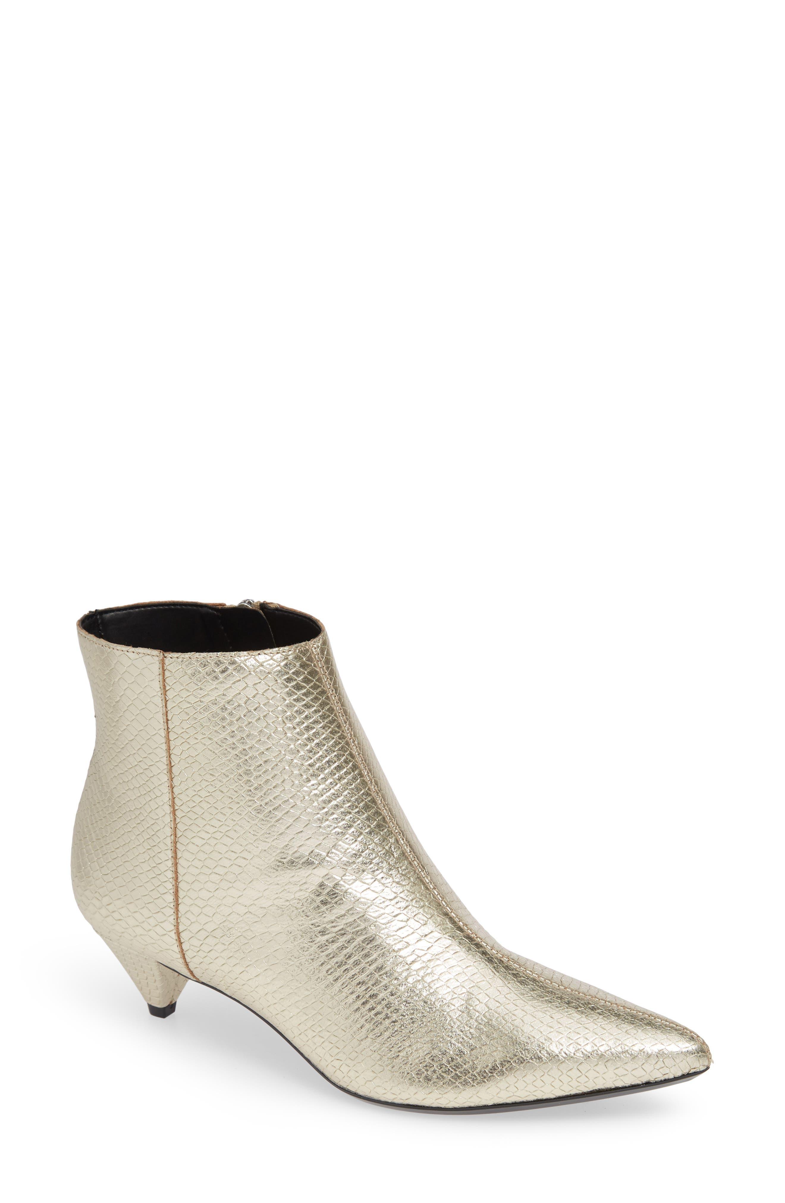 Calvin Klein Larissa Kitten Heel Bootie- Metallic