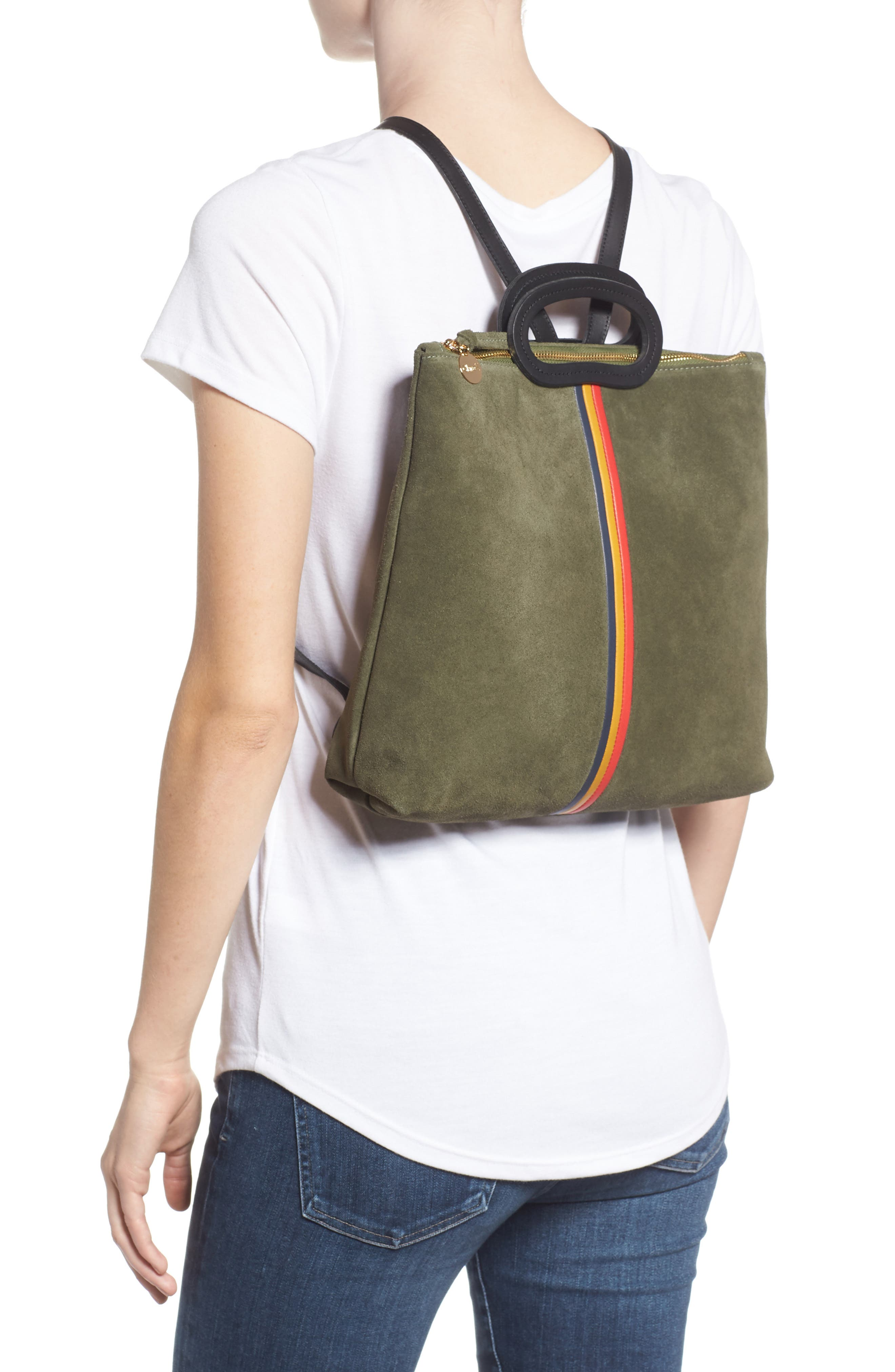 Marcelle Suede Backpack,                             Alternate thumbnail 2, color,                             ARMY SUEDE STRIPE
