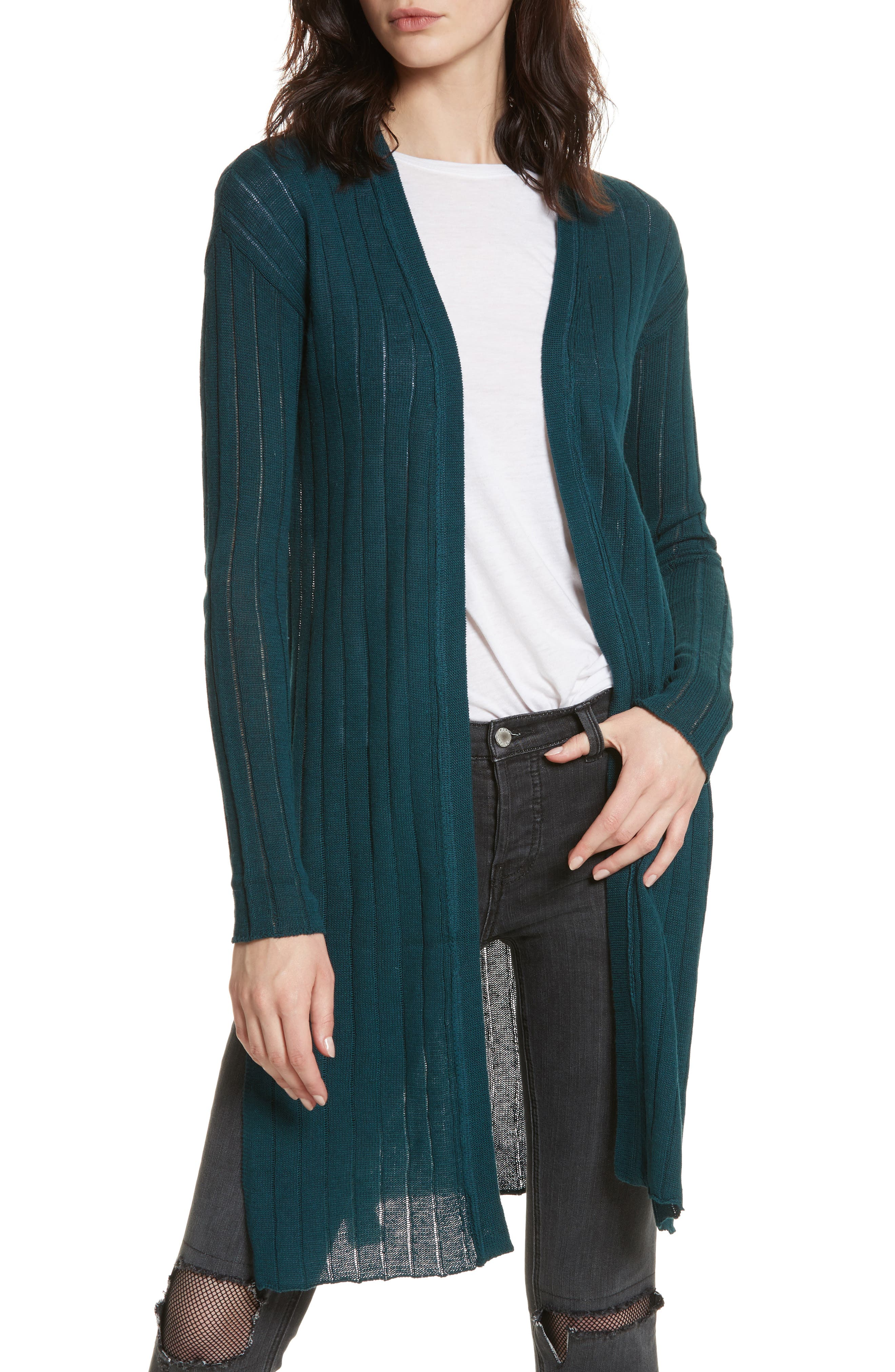 FREE PEOPLE Ribby Long Cardigan, Main, color, 440