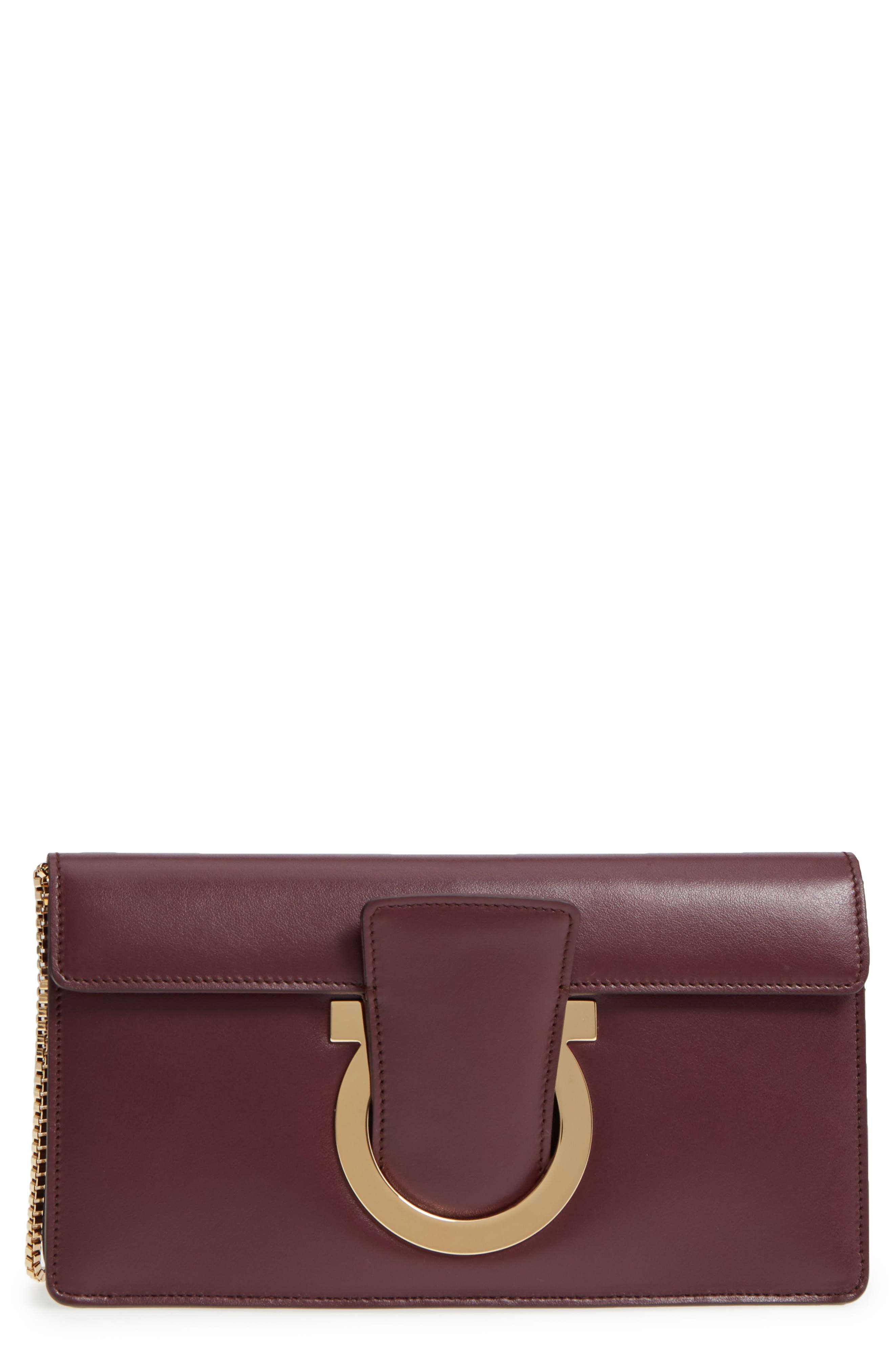 Thalia Leather Clutch,                         Main,                         color, 930