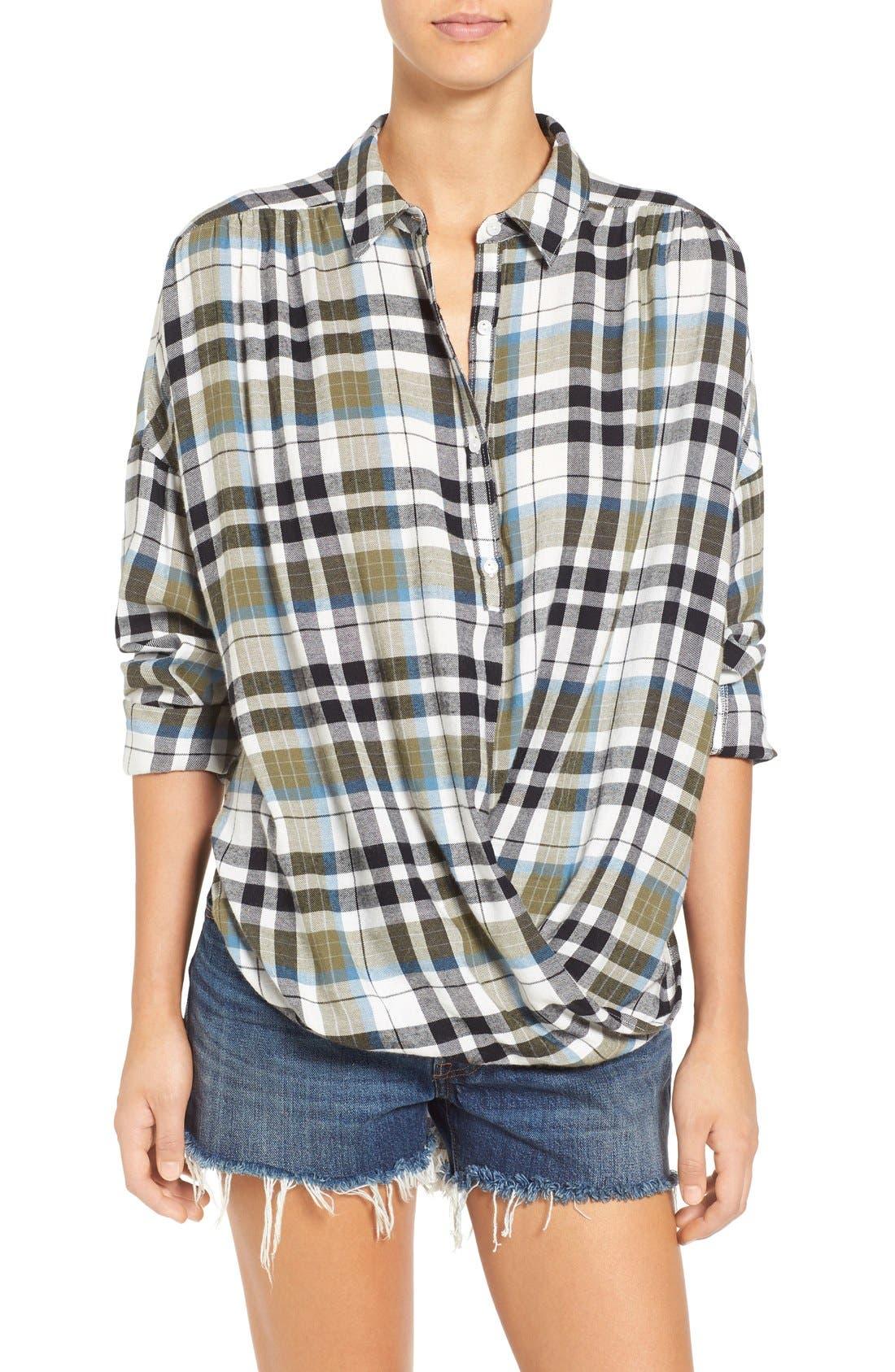 Twist Front Plaid Shirt, Main, color, 315