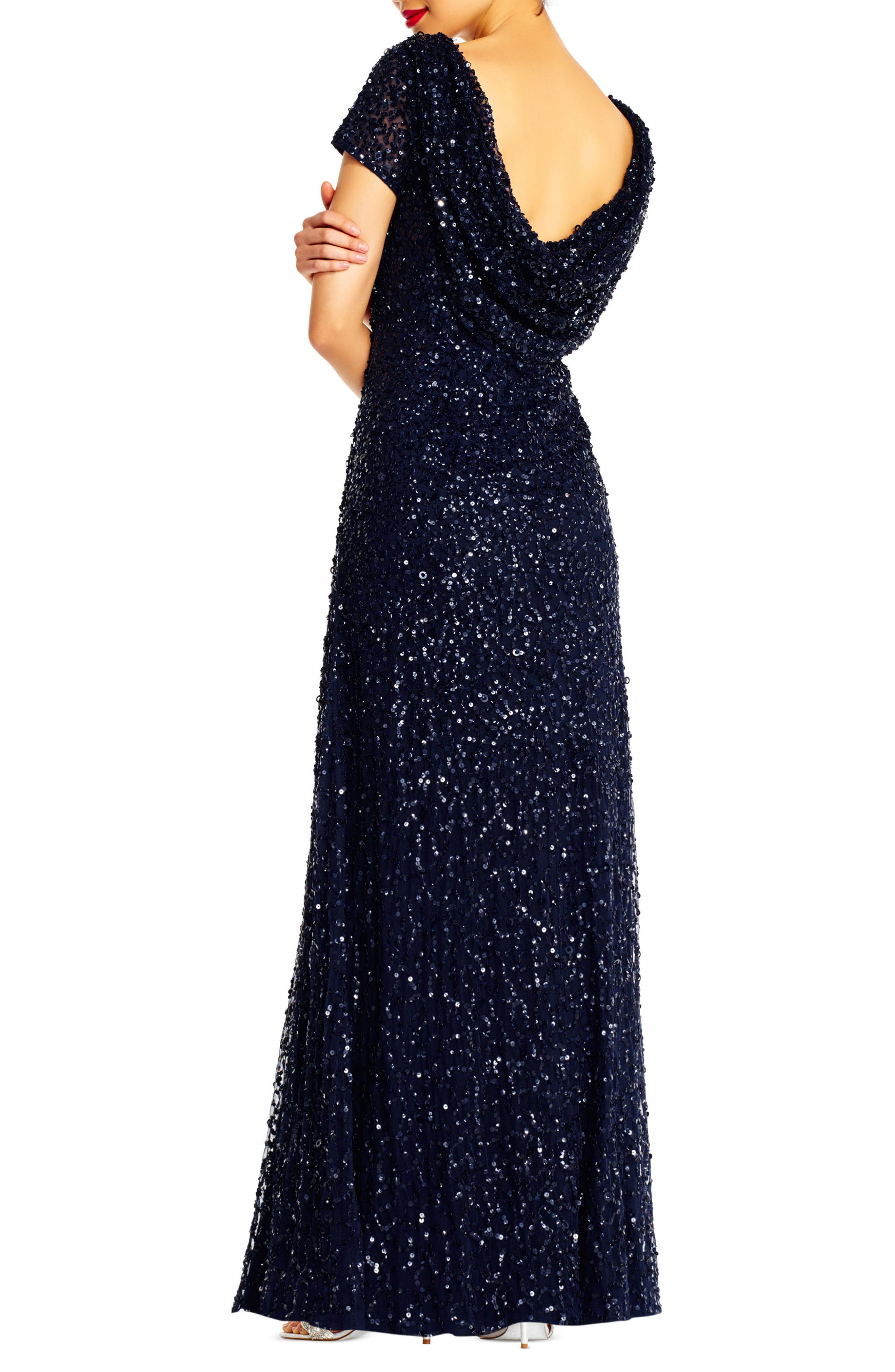Sequin Cowl Back Gown,                             Alternate thumbnail 10, color,