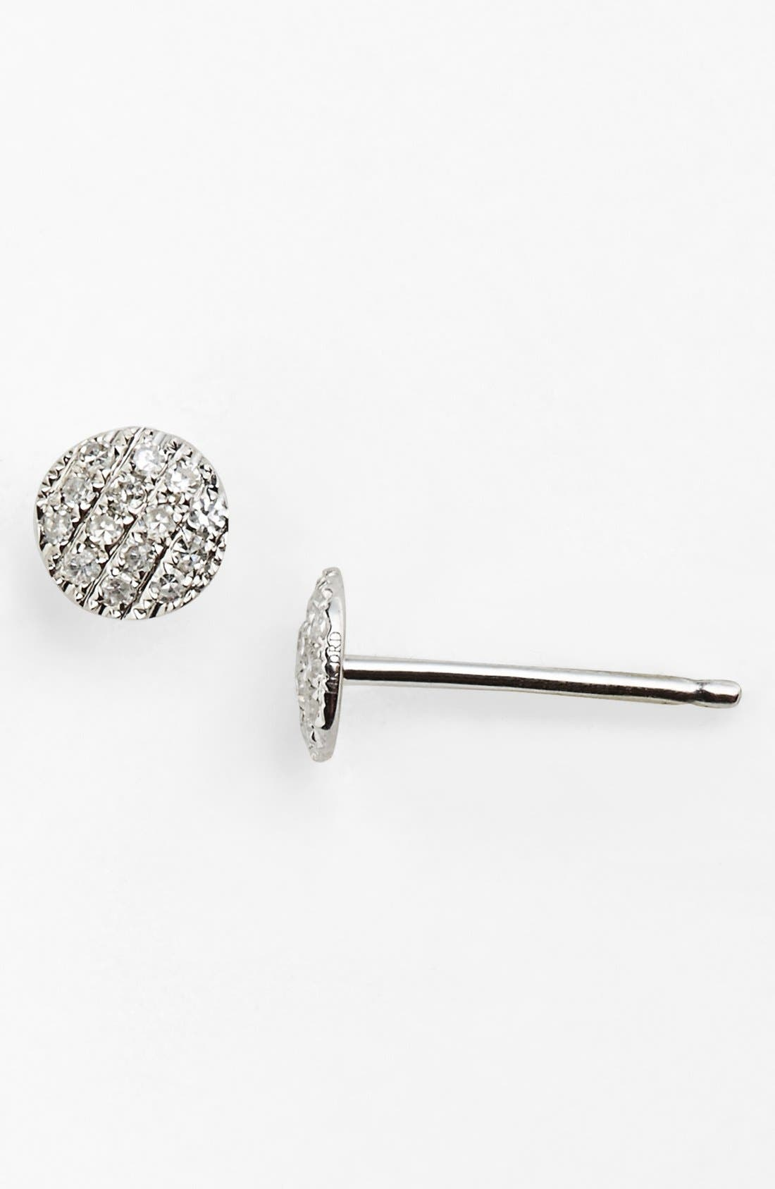 'Lauren Joy' Diamond Disc Stud Earrings,                         Main,                         color, WHITE GOLD