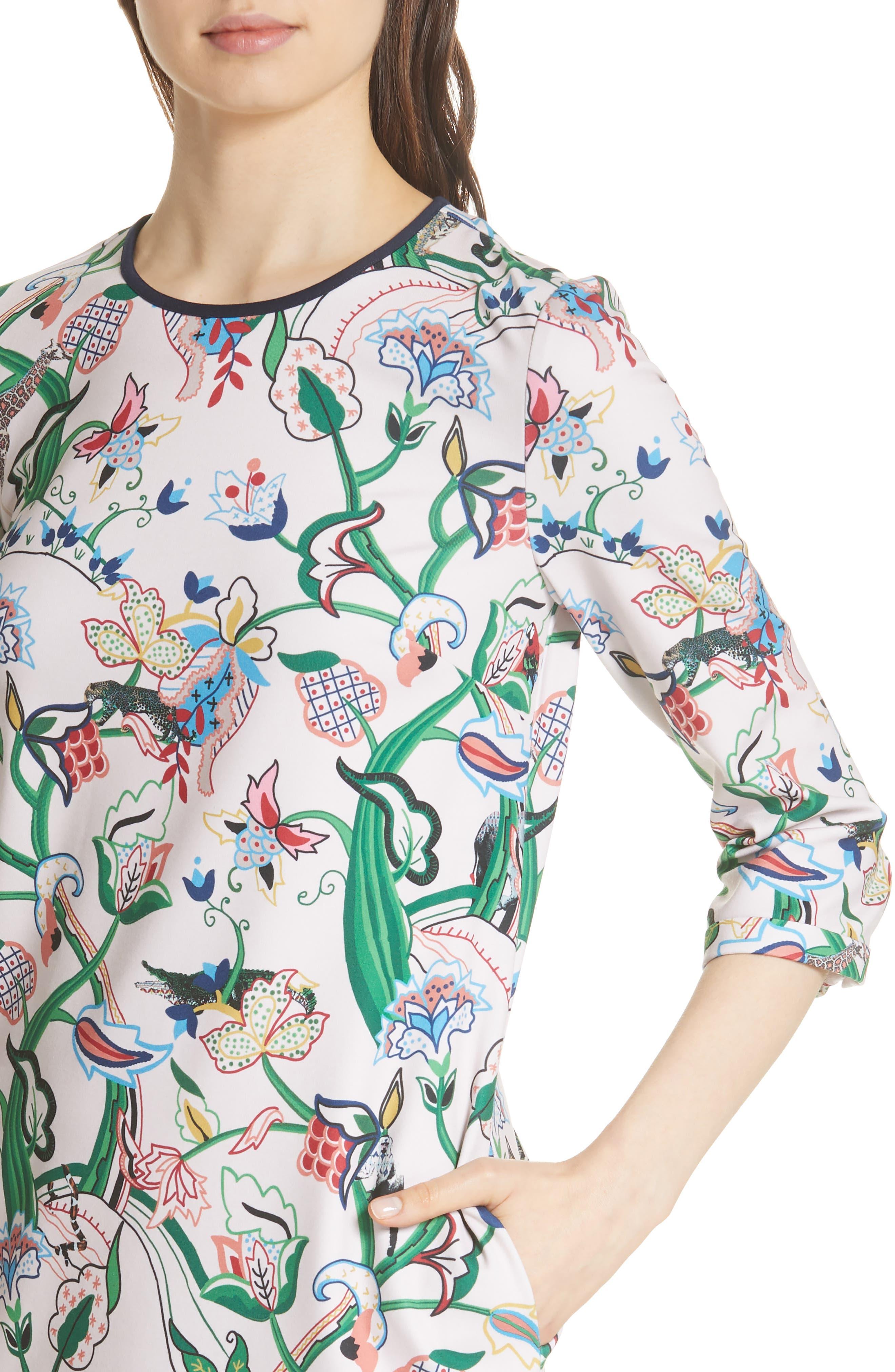 Volca Jungle Print Shift Dress,                             Alternate thumbnail 4, color,                             652