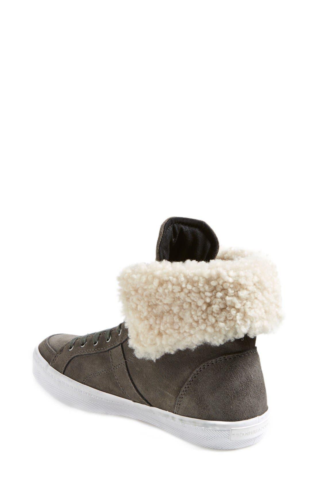 REBECCA MINKOFF,                             'Sasha' Suede High Top Sneaker,                             Alternate thumbnail 3, color,                             020