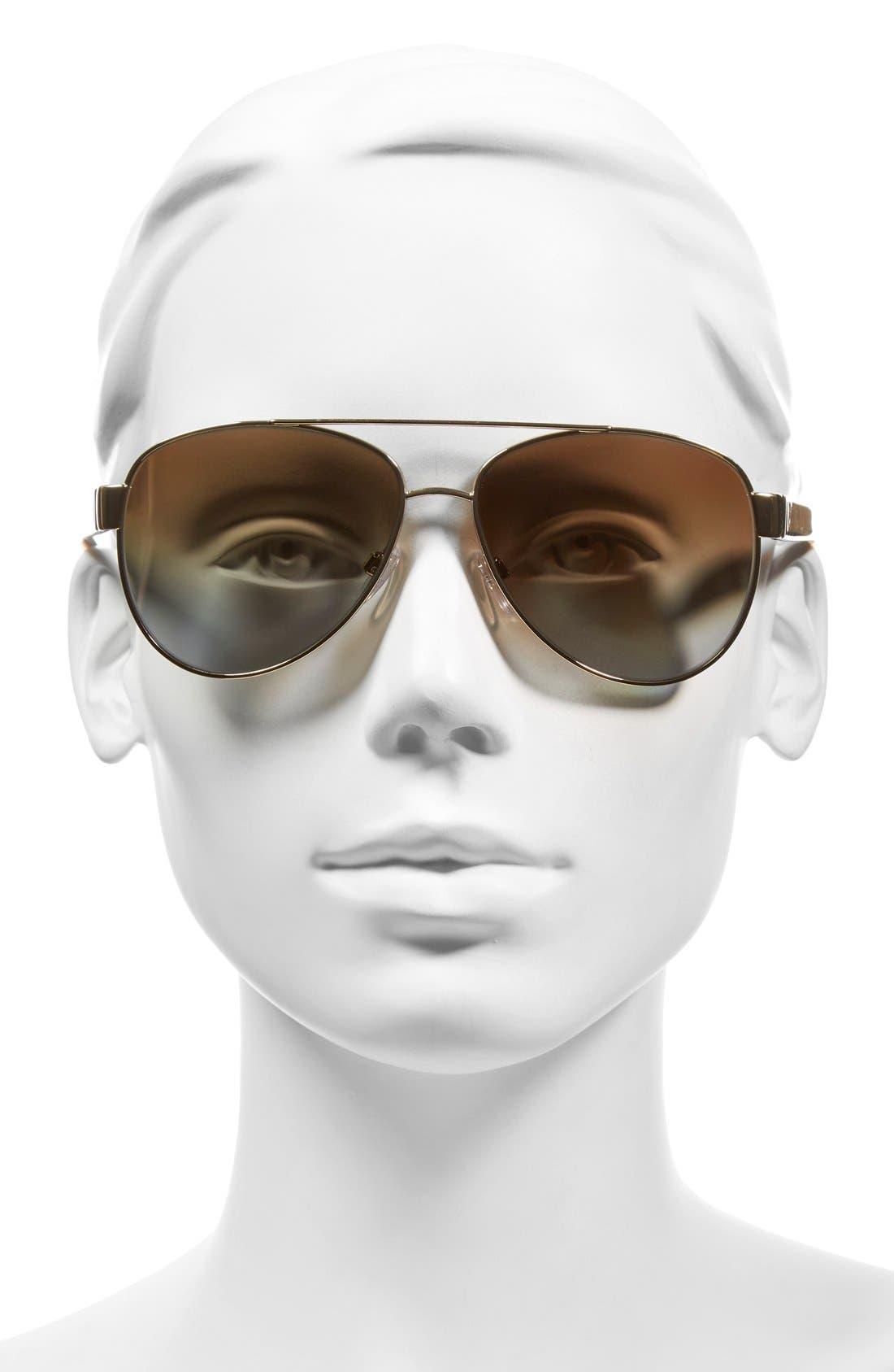 57mm Polarized Aviator Sunglasses,                             Alternate thumbnail 6, color,