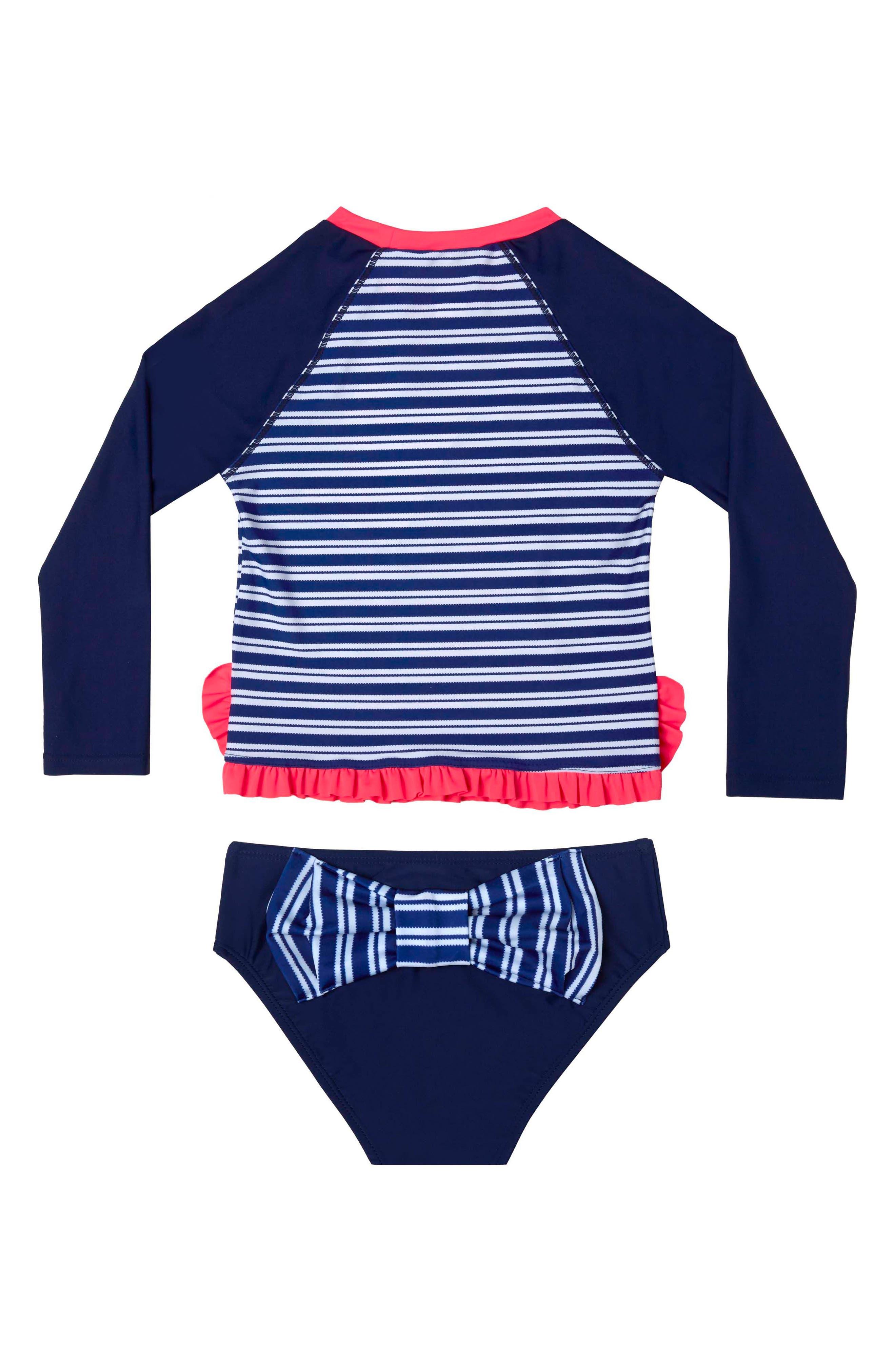 Retro Stripe Two-Piece Rashguard Swimsuit,                         Main,                         color, 406