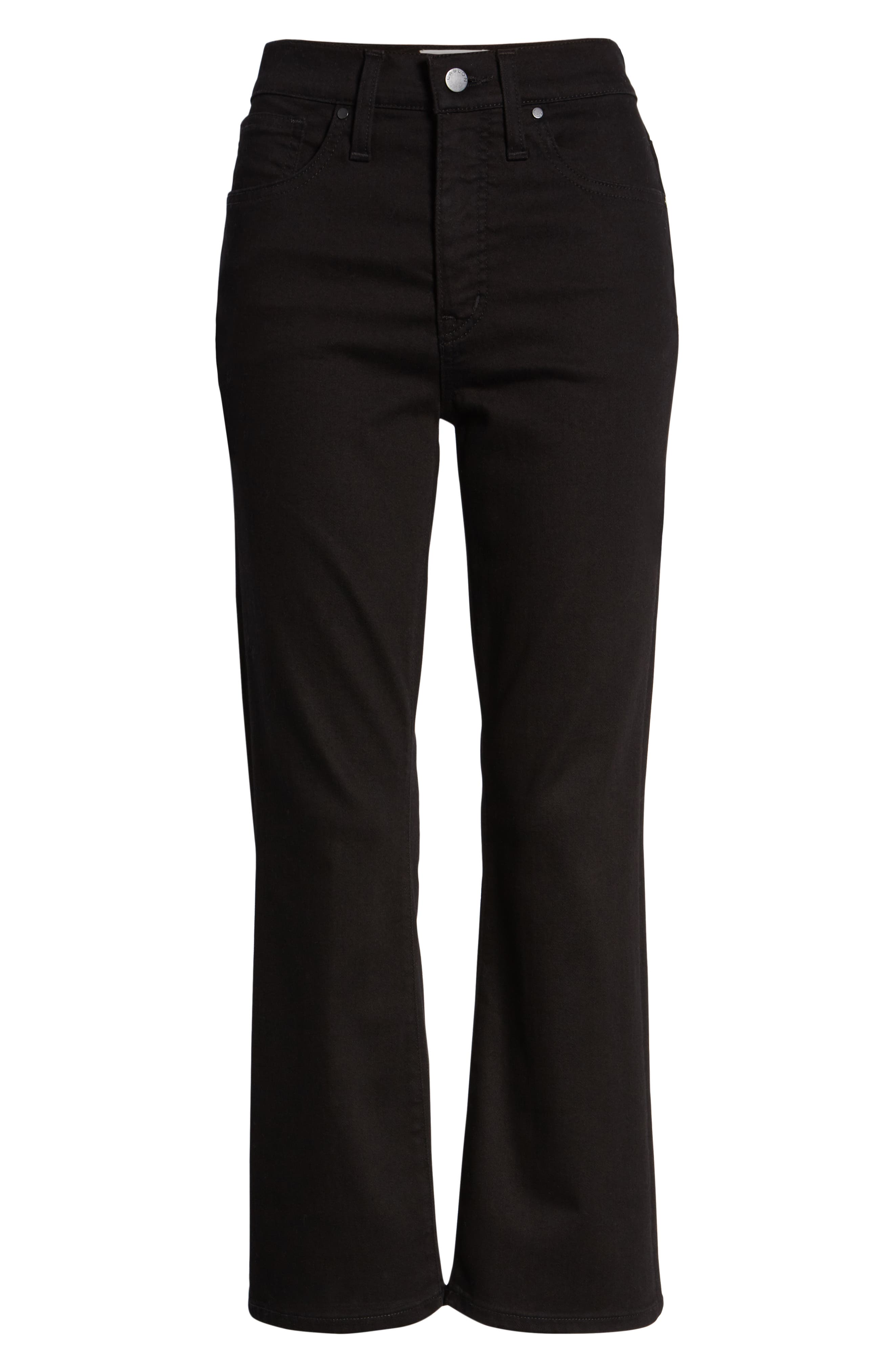 Kick Flare Crop Jeans,                             Alternate thumbnail 6, color,                             BLACK